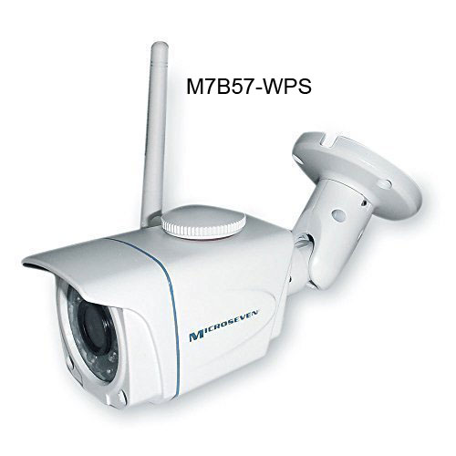 Microseven M7B57-WPS 960P HD Weatherproof H.264 1.3MP All-in-One Bullet Wireless IP Camera WiFi 802.11 b/g/n Built-in Micro SD Card Slot Recorder 802.3af Build-in POE ONVIF P2P ICR-20M Audio Indoor/Outdoor-IP66