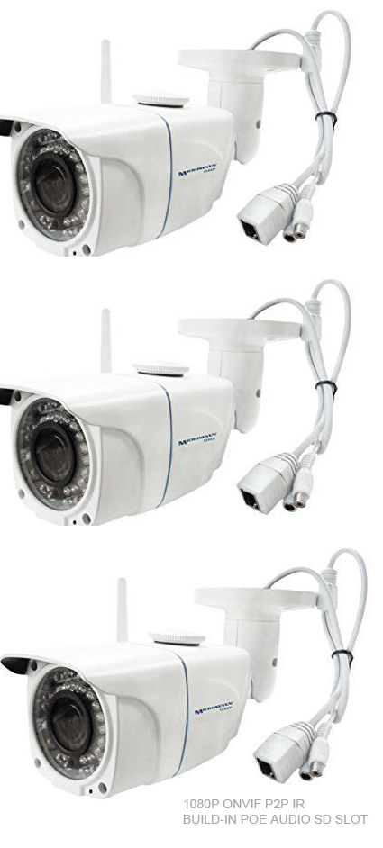 "Microseven 1080P HD SONY 1/2.8"" 2.4MP CMOS Sensor+3MP Lens Plug&Play H.264 Wireless IP Camera WiFi 802.11 b/g/n Built-in Micro SD Card Slot Build-in POE+Build-in Audio ONVIF P2P Infrared Outdoor-IP66"