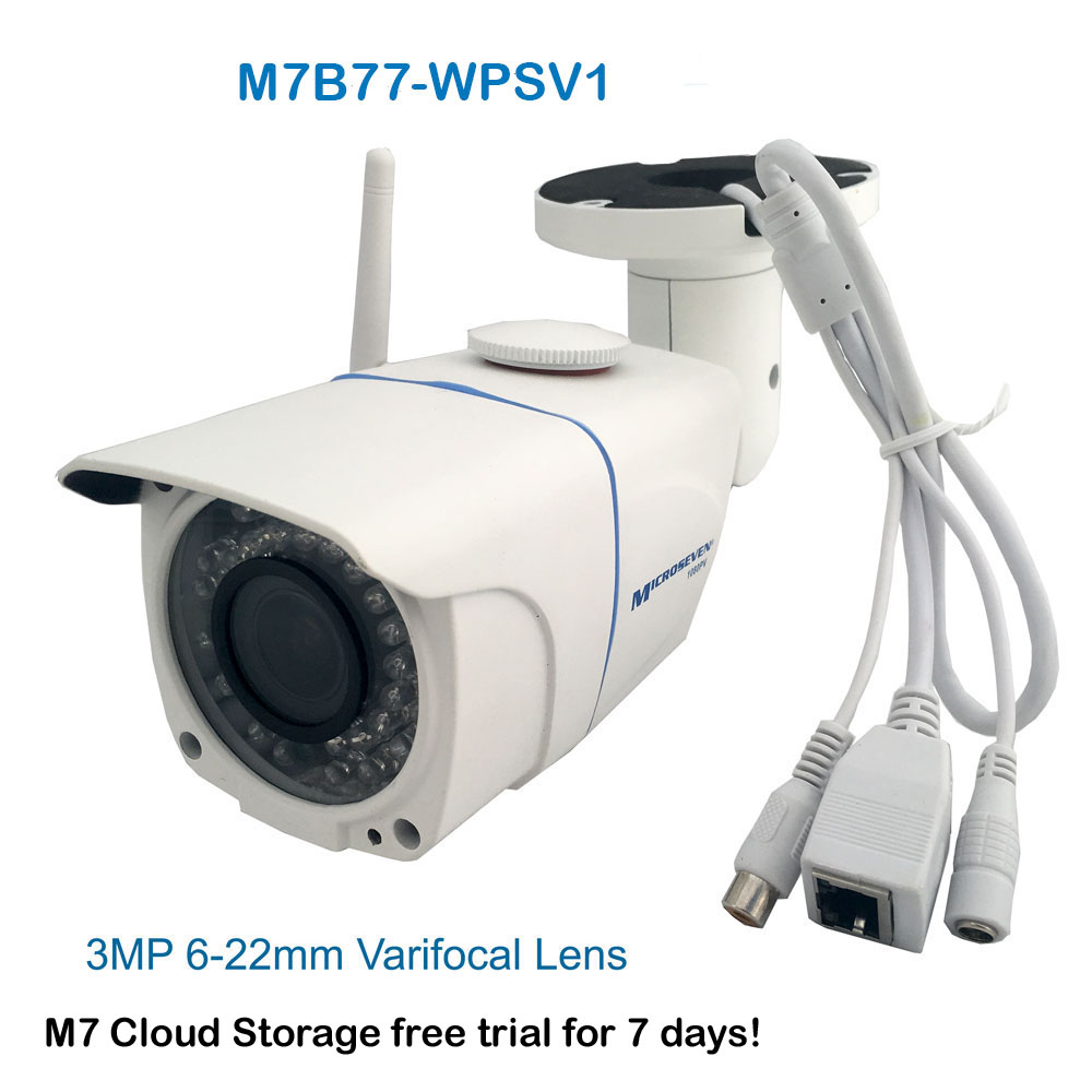 "M7B77-WPSV1 HD 1080P SONY 1/2.8"" Chipset CMOS 3MP 6-22mm Varifocal Lens Plug and Play ONVIF Wireless Outdoor IP Camera 128GB SD Slot, M7 Cloud, Build-in POE and MIC/IR/Free Live Streaming on microseven.tv"