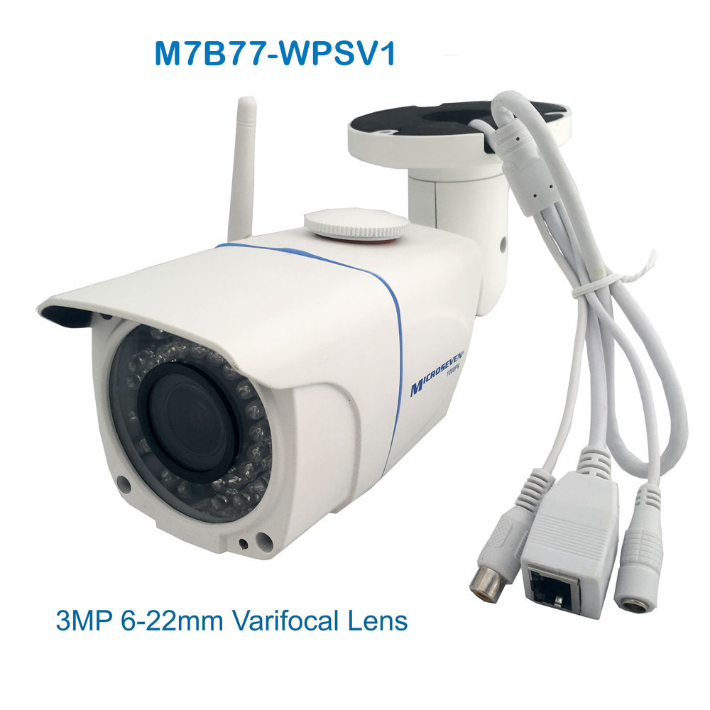 "M7B77-WPSV1 HD 1080P SONY 1/2.8"" 2.4MP CMOS 3MP 6-22mm Varifocal Lens Plug and Play ONVIF Wireless Outdoor IP Camera 128GB Build-in POE and MIC/IR/Free Live Streaming on microseven.tv"