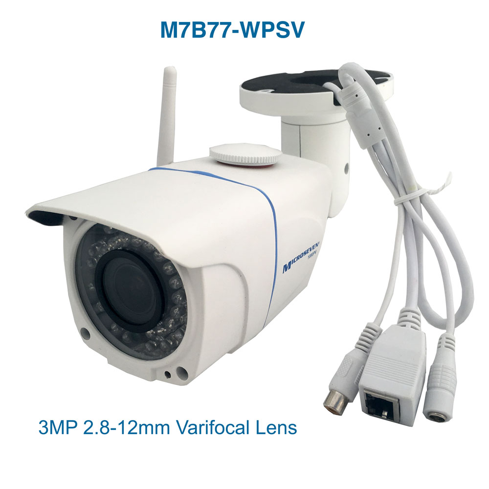 "M7B77-WPSV HD 1080P SONY 1/2.8"" 2.4MP CMOS 3MP 2.8-12mm Varifocal Lens Plug and Play ONVIF Wireless Outdoor IP Camera 128GB Build-in POE and MIC/IR/Free Live Streaming on microseven.tv"