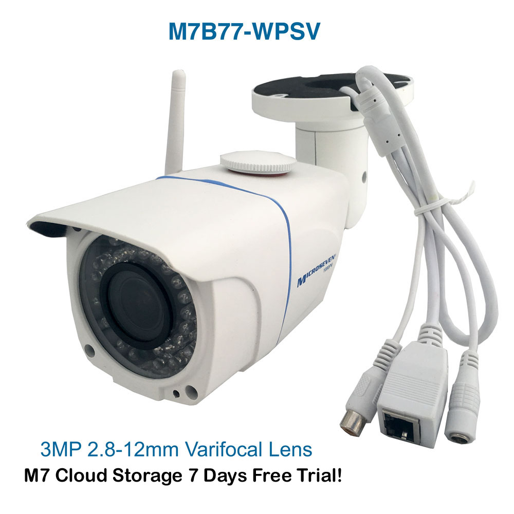"M7B77-WPSV HD 1080P SONY 1/2.8"" Chipset CMOS 3MP 2.8-12mm Varifocal Lens Plug and Play ONVIF Wireless Outdoor IP Camera 128GB SD Slot, M7 Cloud,Build-in POE and MIC/IR/Free Live Streaming on microseven.tv"