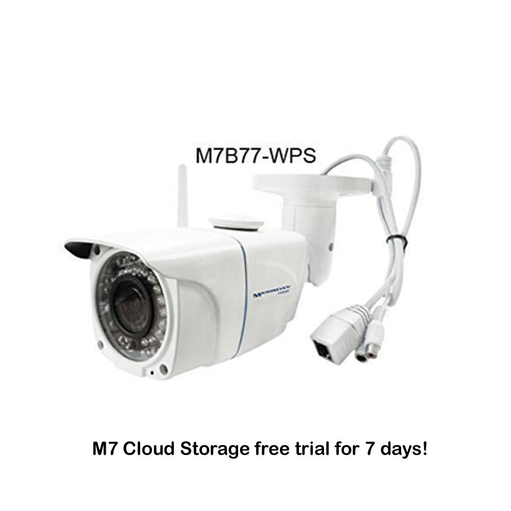 "M7B77-WPS HD 1080P SONY 1/2.8"" Chipset CMOS 3.6mm 3MP Lens Plug and Play ONVIF Wireless Outdoor IP Camera 128GB SD Slot, M7 Cloud, Build-in POE and MIC/IR/Free Live Streaming on microseven.tv"