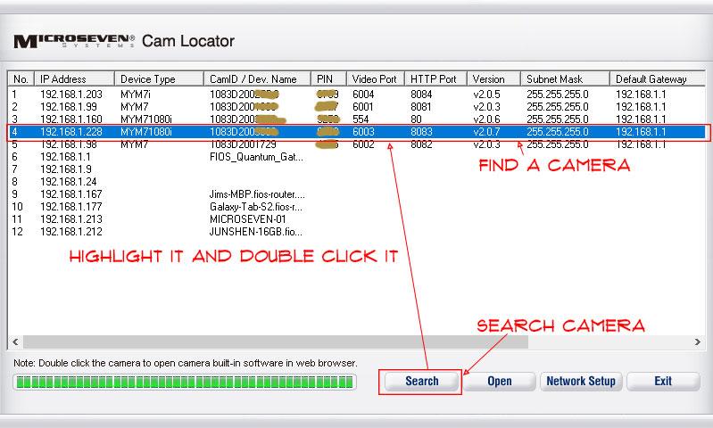 using cam locator to find a camera