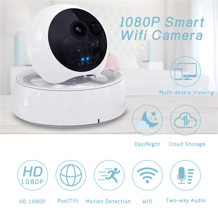 IM (Brand ) 1080P WiFi PTZ Indoor IP Camera, Wireless Surveillance Home Security Dome Cameras, Indoor PTZ with 4X Digital Zoom Baby Pet Shop Monitor with Android  / iOS APP or PC Viewing, 2 Two-Way Audio Day & Night, Motion Detection Pet Camera  Built-in 128GB SD Slot ( Not Support Alexa, not compatible with microseven software )