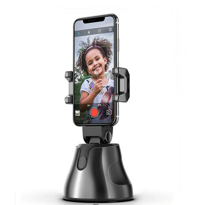Microseven Auto Smart Shooting Selfie Stick Intelligent Follow Gimbal AI-Composition Object Tracking Auto Face Tracking Camera Phone Holder Black