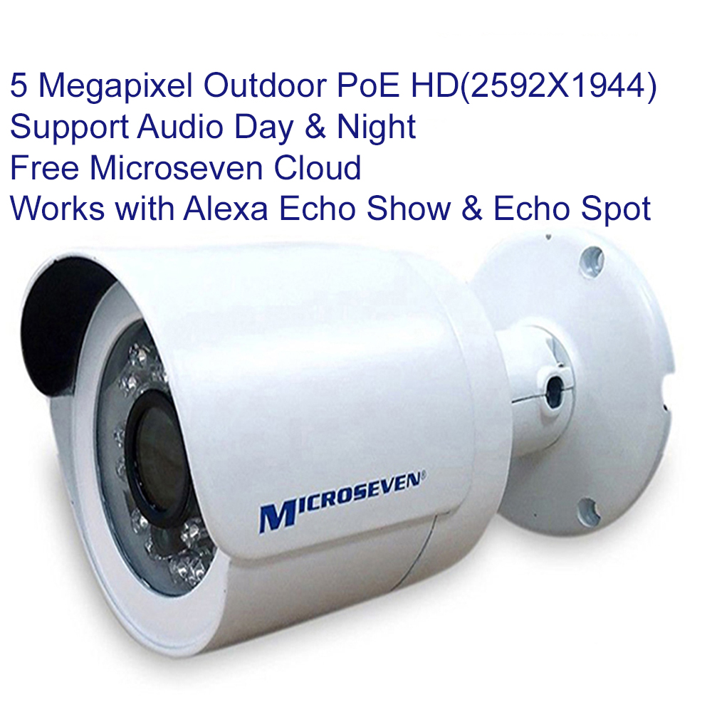 Microseven 5MP PoE IP Camera Works with Alexa, Free 24Hr Cloud, Ultra HD 2592x1944 Audio with Build-in Microphone Day & Night Outdoor IP66, 100ft IR Distance, Free Live Streaming microseven.tv (in stock 5/30 pre-order only)