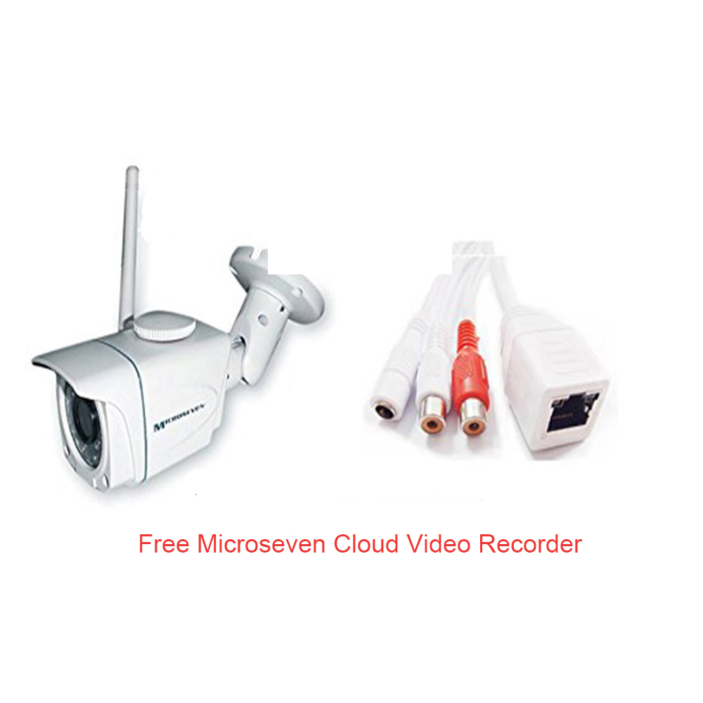 Microseven M7B57-WPS HD 960P 3MP 3.6mm Lens Plug and Play ONVIF Wireless Outdoor IP Camera 64GB SD Slot, M7 Clooud, Build-in POE ONVIF Audio, Free M7 Cloud+Free Live Streaming on microseven.tv (With Built-in POE)/Works with Alexa
