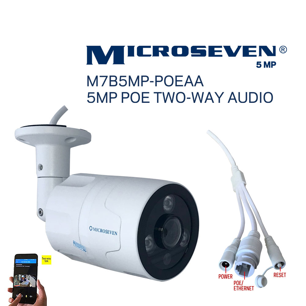Microseven Open Source 5MP (2560x1920) UltraHD PoE Indoor / Outdoor IP Camera, Sony Chipset CMOS 5MP Lens, Amazon Certified Works with Alexa with No Monthly Fee, Two-Way Audio Wide Angle (170°), IR, A.I. Human Motion Detection IP Camera, 128GB SD Slot, Night Vision Bullet PoE IP Camera, Waterproof Security Camera, ONVIF CCTV Surveillance Camera, Web GUI & Apps, VMS (Video Management System) Free 24hr Cloud Storage+ Broadcasting on YouTube, Facebook & Microseven.tv