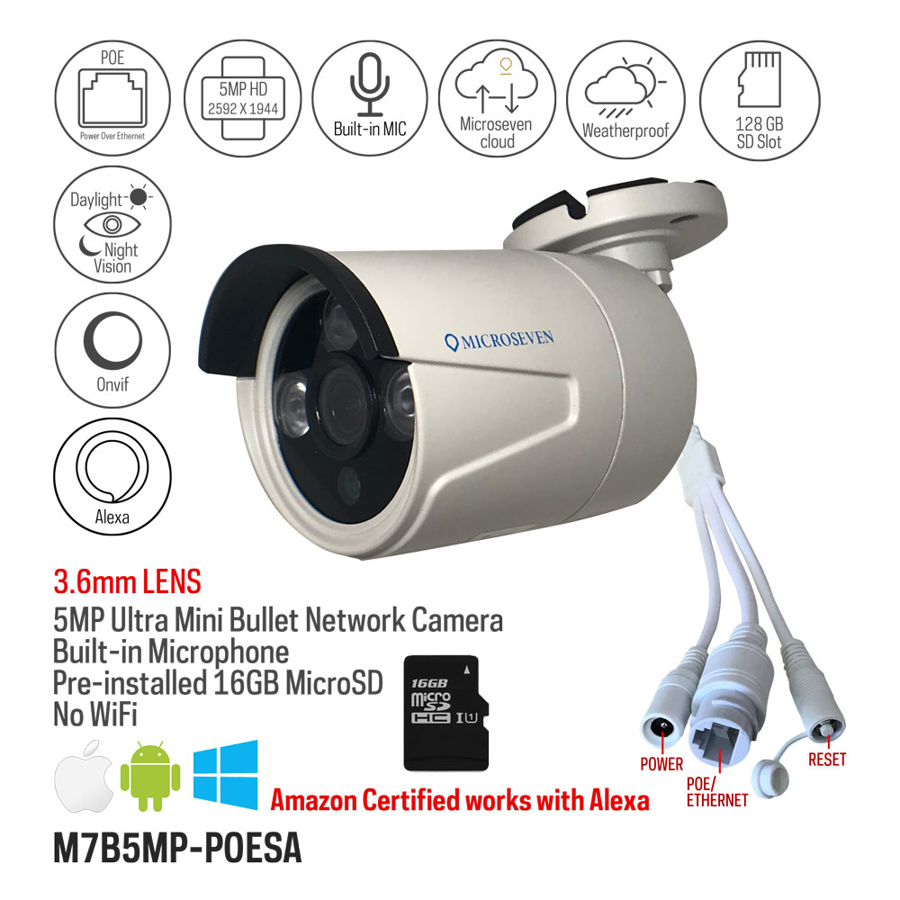 Microseven 5MP Ultra HD (2560x1920) POE Bullet IP Camera Amazon Certified Works with Alexa,Web GUI & Apps, VMS (Video Management System), Free 24Hr Cloud, Audio with Build-in Microphone & Free 16GB SD Card Built-in (Support upto 128GB) Day & Night, ONVIF, Outdoor IP66, 100ft IR Distance, Free Live Streaming microseven.tv