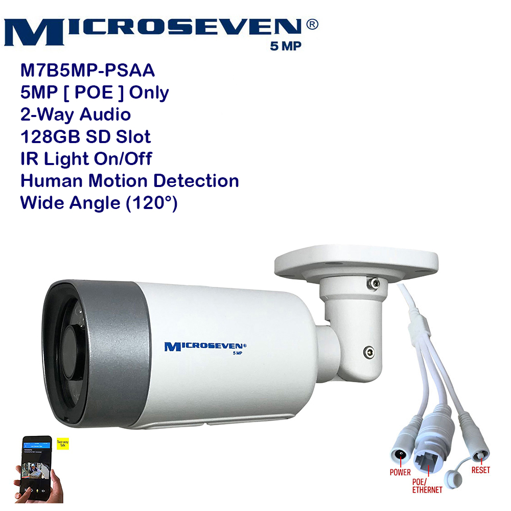 "Microseven (2020)Open Source 5MP (2560x1920) UltraHD [ POE ] or Wired SONY 1/2.8"" Chipset CMOS 2.8mm 5MP Lens Wide Angle (120°)  Two-Way Audio with Built-in Amplified Microphone and Speaker plug and Play ONVIF, IR Light (On/Off in the APP) Security Indoor / Outdoor IP Camera, A.I. Human Motion Detection, 128GB SD Slot, Day & Night, Web GUI & Apps, VMS (Video Management System) Free 24hr M7 Cloud Storage, Works with Alexa with No Monthly Fee+ Broadcasting on YouTube, Facebook & Microseven.tv"