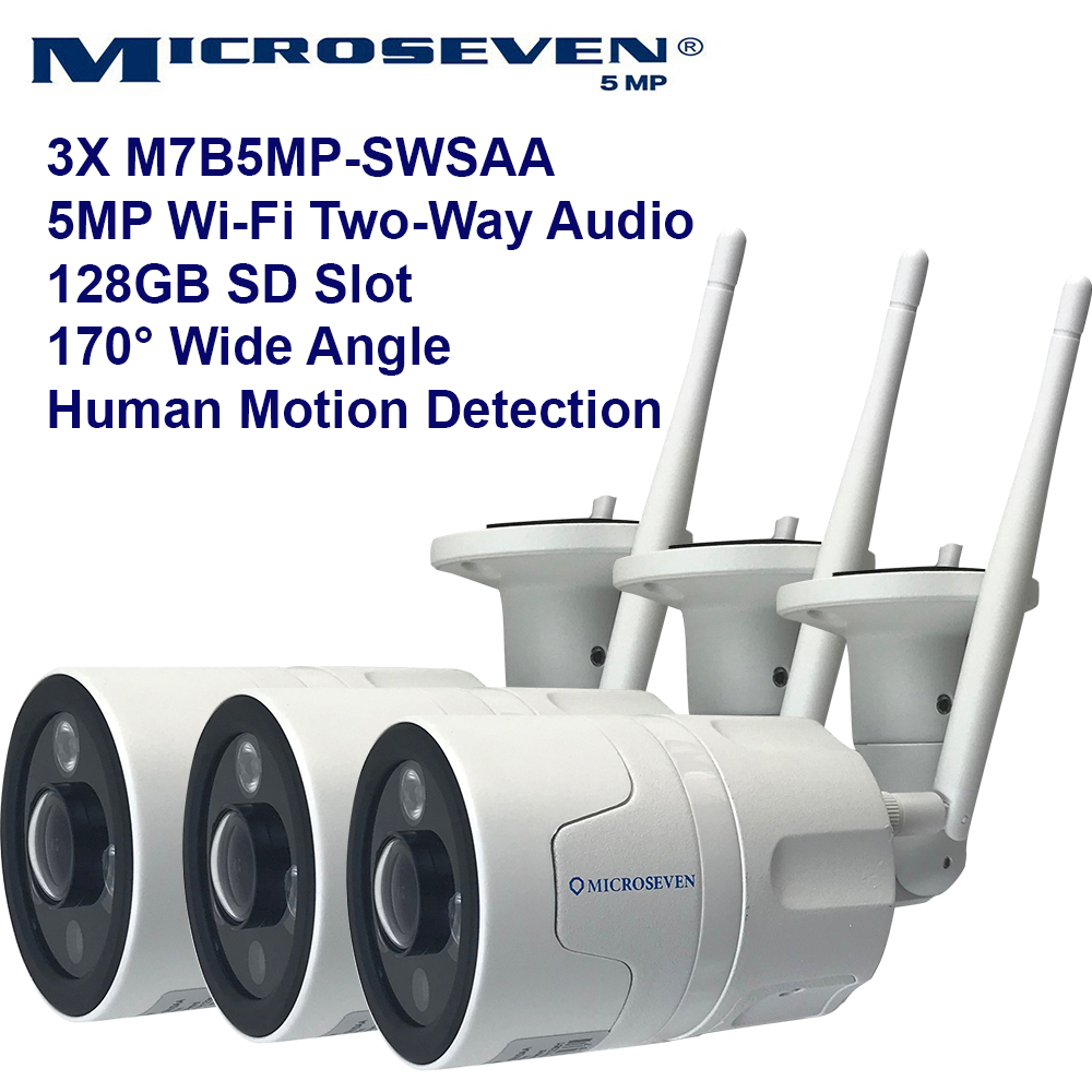 3x Microseven Open Source 5MP (2560x1920) UltraHD WiFi or Wired Indoor / Outdoor IP Camera, Sony Chipset CMOS 5MP Lens, Amazon Certified Works with Alexa with No Monthly Fee, Two-Way Audio Wide Angle (170°), IR, Human Motion Detection WiFi IP Camera, 128GB SD Slot, Night Vision Bullet WiFi Camera, Waterproof Security Camera, ONVIF CCTV Surveillance Camera, Web GUI & Apps, VMS (Video Management System) Free 24hr Cloud Storage+ Broadcasting on YouTube, Facebook & Microseven.tv