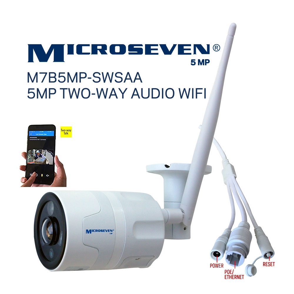Microseven Open Source 5MP (2560x1920) UltraHD WiFi or Wired Indoor / Outdoor IP Camera, Sony Chipset CMOS 5MP Lens, Amazon Certified Works with Alexa with No Monthly Fee, Two-Way Audio Wide Angle (170°), IR, A.I. Human Motion Detection WiFi IP Camera, 128GB SD Slot, Night Vision Bullet WiFi Camera, Waterproof Security Camera, ONVIF CCTV Surveillance Camera, Web GUI & Apps, VMS (Video Management System) Free 24hr Cloud Storage+ Broadcasting on YouTube, Facebook & Microseven.tv