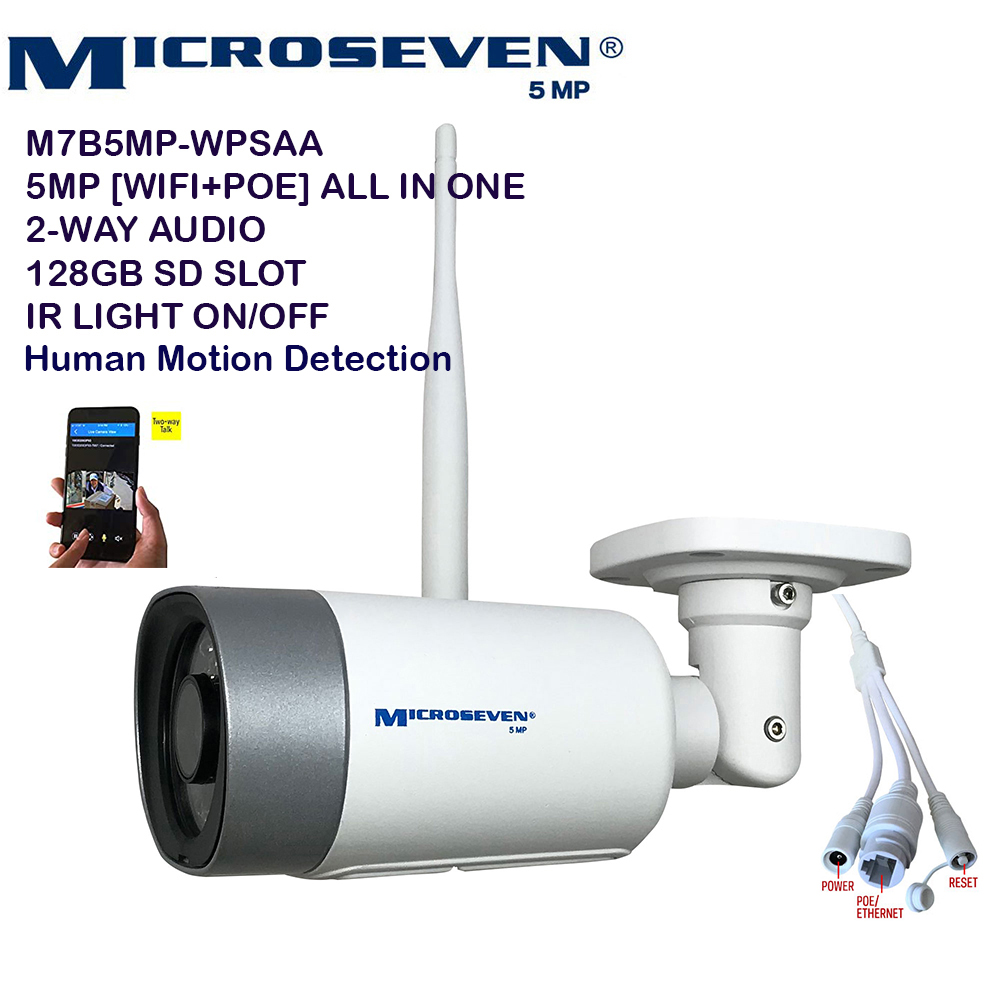 "Microseven Open Source 5MP (2560x1920) Ultra HD [WiFi + PoE] All in One SONY 1/2.8"" Chipset CMOS 3.6mm 5MP Lens Two-Way Audio with Built-in Amplified Microphone and Speaker plug and Play ONVIF, IR Light (On/Off in the APP) Security Indoor / Outdoor IP Camera, A.I. Human Motion Detection, 128GB SD Slot, Day & Night, Web GUI & Apps, VMS (Video Management System) Free 24hr M7 Cloud Storage, Works with Alexa with No Monthly Fee+ Broadcasting on YouTube, Facebook & Microseven.tv"