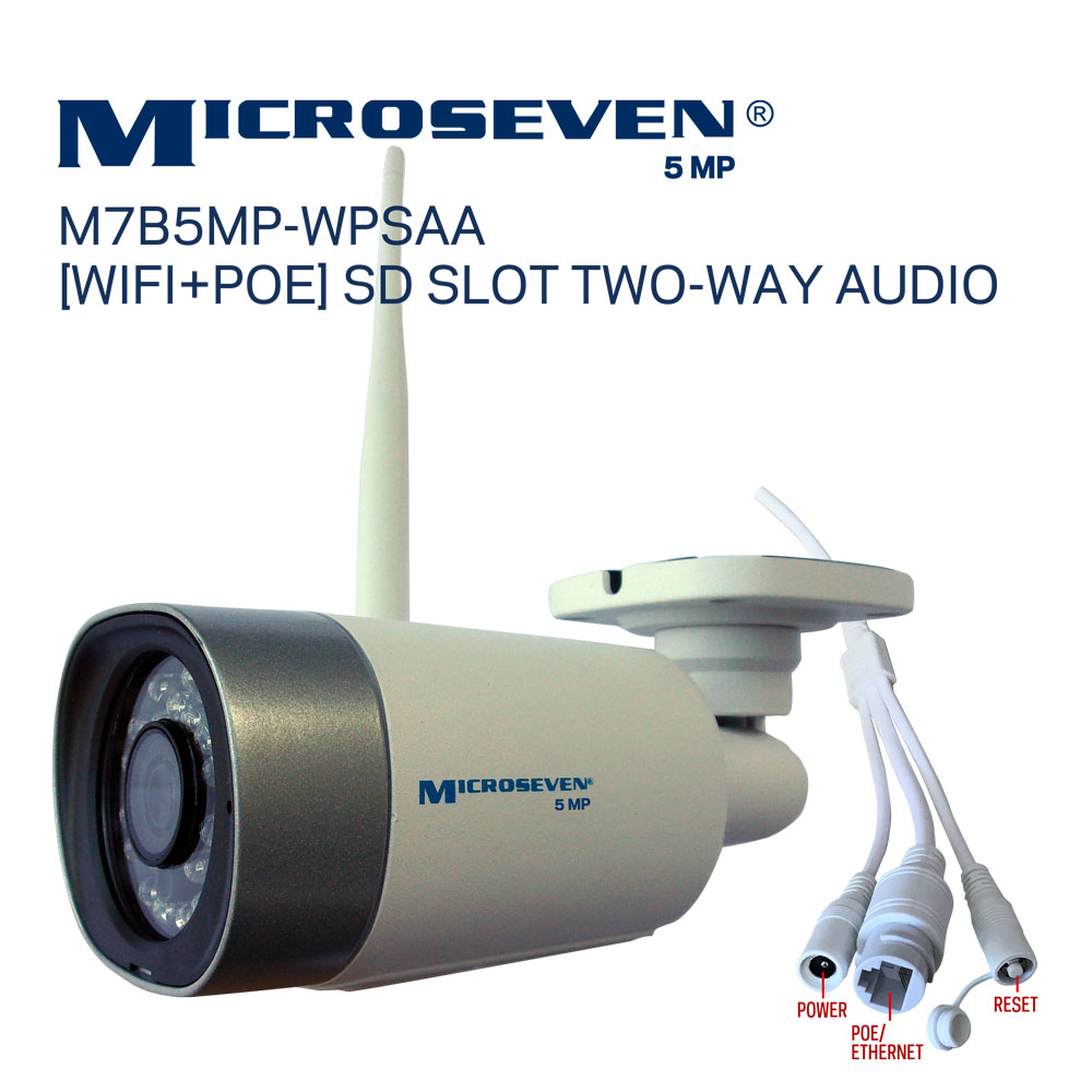 "Microseven Open Source 5MP (2560x1920) Ultra HD [WiFi + PoE] SONY 1/2.8"" Chipset CMOS 3.6mm 5MP Lens Two-Way Audio with Built-in Amplified Microphone and Speaker plug and Play ONVIF, IR Light (On/Off in the APP) Security Outdoor IP Camera 128GB SD Slot, Day & Night, Web GUI & Apps, VMS (Video Management System) Free 24hr M7 Cloud Storage, Works with Alexa"