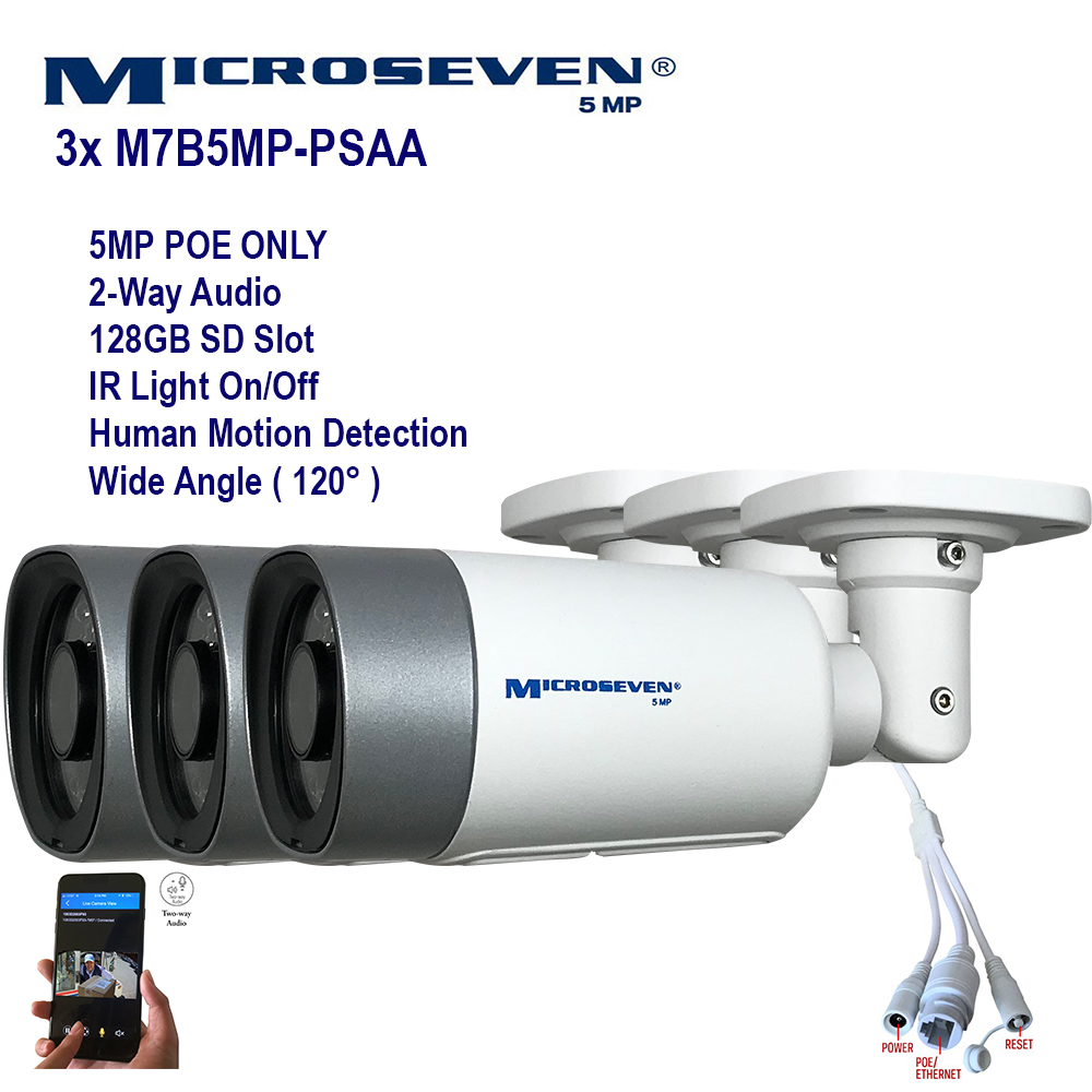"3x Microseven (2020)Open Source 5MP (2560x1920) UltraHD [ POE ] or Wired SONY 1/2.8"" Chipset CMOS 2.8mm 5MP Lens Wide Angle (120°)  Two-Way Audio with Built-in Amplified Microphone and Speaker plug and Play ONVIF, IR Light (On/Off in the APP) Security Indoor / Outdoor IP Camera, A.I. Human Motion Detection, 128GB SD Slot, Day & Night, Web GUI & Apps, VMS (Video Management System) Free 24hr M7 Cloud Storage, Works with Alexa with No Monthly Fee+ Broadcasting on YouTube, Facebook & Microseven.tv"