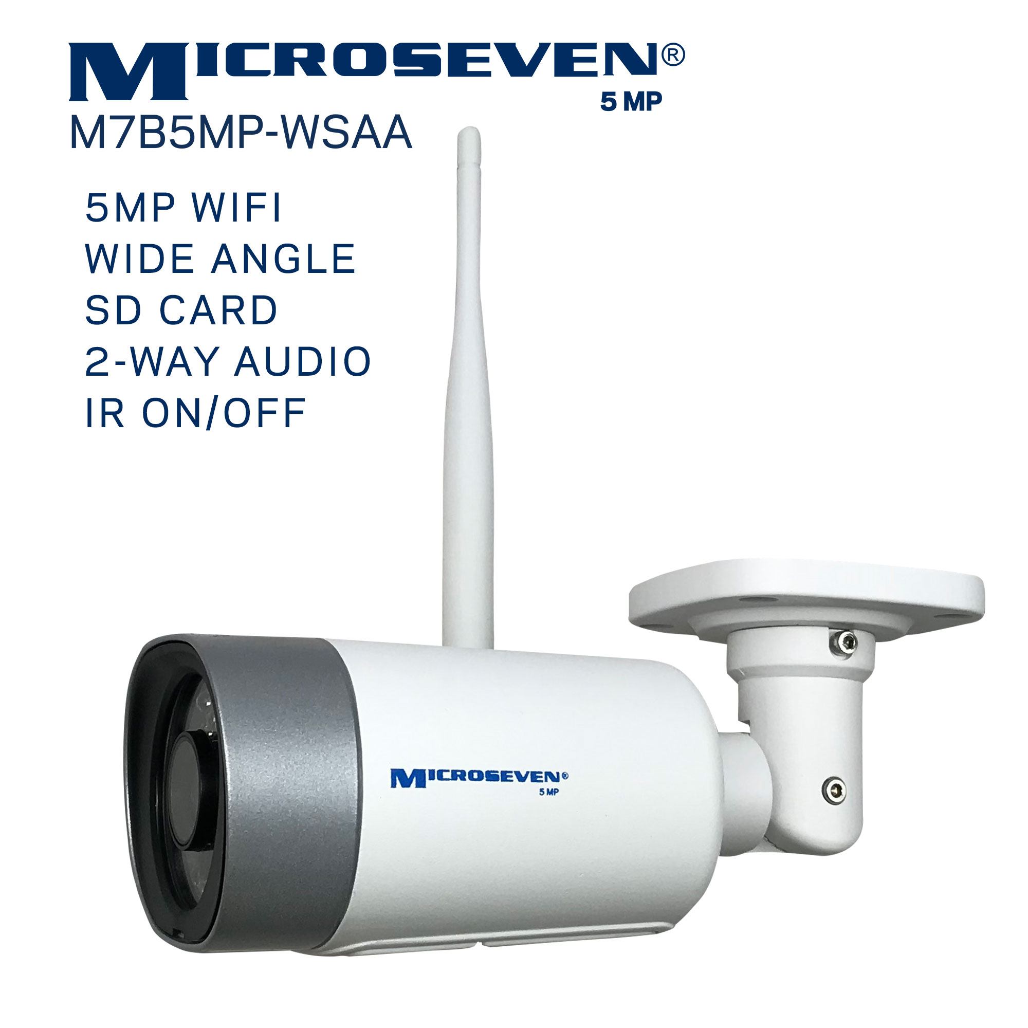 "Microseven (2020)Open Source 5MP (2560x1920) UltraHD [ WiFi ] SONY 1/2.8"" Chipset CMOS 2.8mm 5MP Lens Two-Way Audio with Built-in Amplified Microphone and Speaker plug and Play ONVIF, IR Light (On/Off in the APP) Security Indoor / Outdoor IP Camera, A.I. Human Motion Detection, 128GB SD Slot, Day & Night, Web GUI & Apps, VMS (Video Management System) Free 24hr M7 Cloud Storage, Works with Alexa with No Monthly Fee+ Broadcasting on YouTube, Facebook & Microseven.tv"