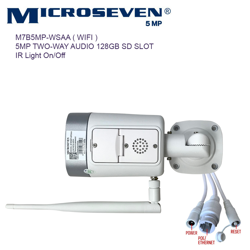 "Microseven (2020)Open Source 5MP (2560x1920) UltraHD [ Wi - Fi ] or Wired SONY 1/2.8"" Chipset CMOS 2.8mm 5MP Lens Wide Angle (120°)  Two-Way Audio with Built-in Amplified Microphone and Speaker plug and Play ONVIF, IR Light (On/Off in the APP) Security Indoor / Outdoor IP Camera, A.I. Human Motion Detection, 128GB SD Slot, Day & Night, Web GUI & Apps, VMS (Video Management System) Free 24hr M7 Cloud Storage, Works with Alexa with No Monthly Fee+ Broadcasting on YouTube, Facebook & Microseven.tv"