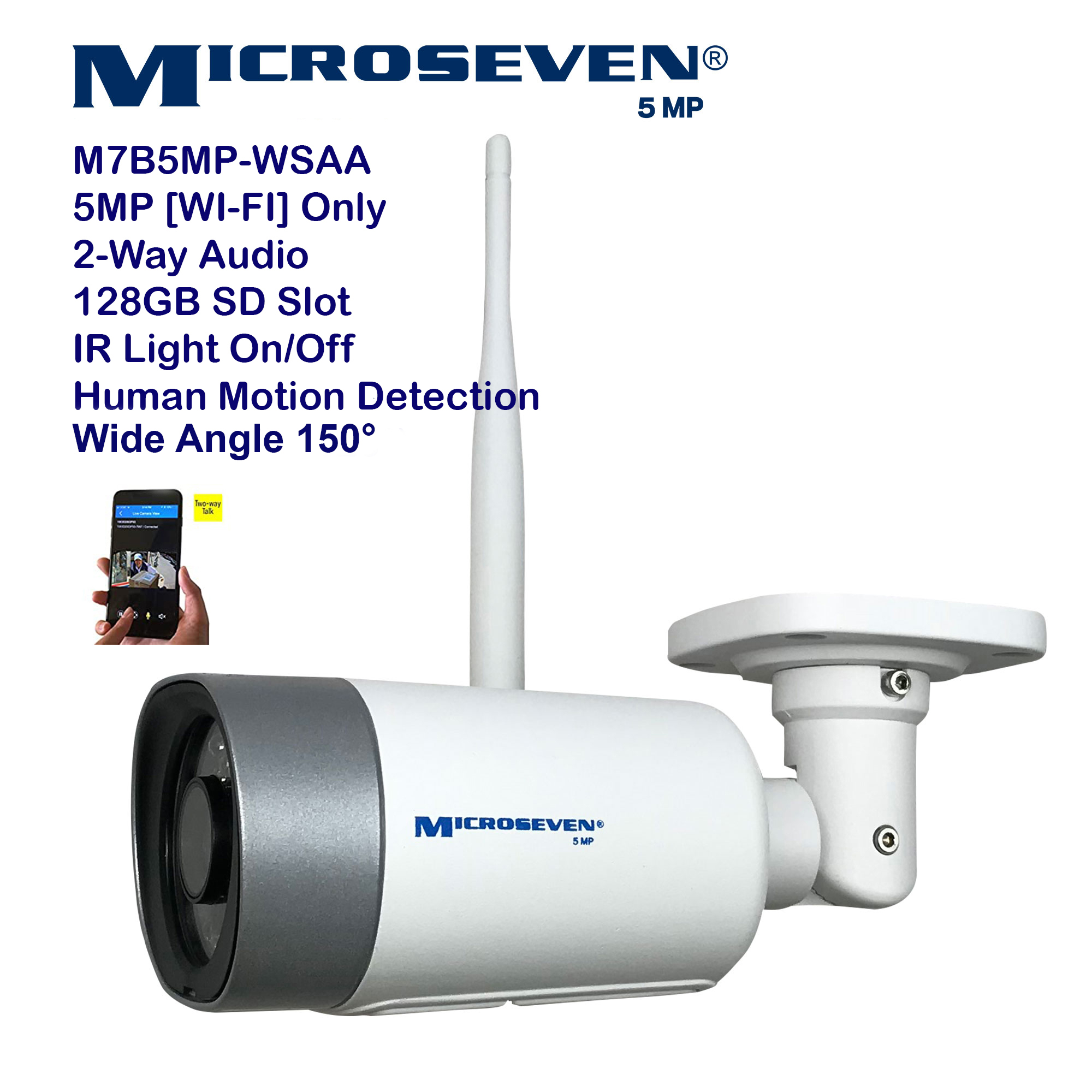 "Microseven (2020)Open Source 5MP (2560x1920) UltraHD [ Wi - Fi ] or Wired SONY 1/2.8"" Chipset CMOS 2.8mm 5MP Lens Wide Angle (150°)  Two-Way Audio with Built-in Amplified Microphone and Speaker plug and Play ONVIF, IR Light (On/Off in the APP) Security Indoor / Outdoor IP Camera, A.I. Human Motion Detection, 128GB SD Slot, Day & Night, Web GUI & Apps, VMS (Video Management System) Free 24hr M7 Cloud Storage, Works with Alexa with No Monthly Fee+ Broadcasting on YouTube, Facebook & Microseven.tv"
