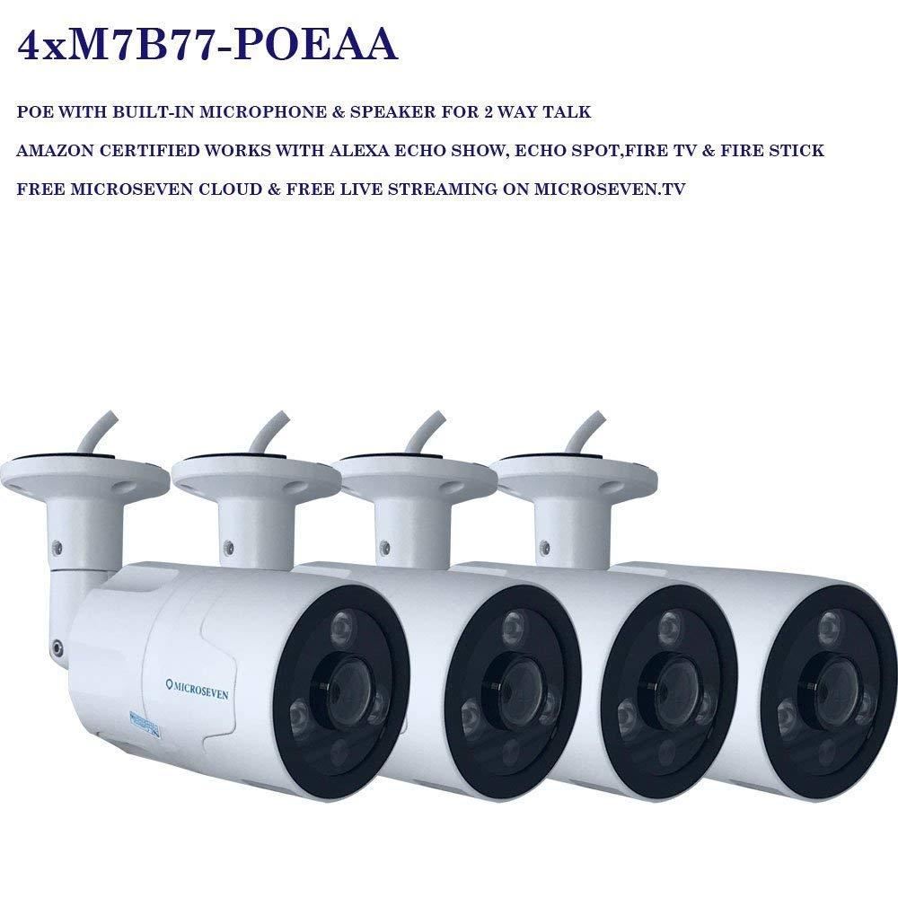 4x Microseven Open Source 1080P / 30fps Sony CMOS HD POE Outdoor Camera, Amazon Certified Works with Alexa, Two-Way Audio Wide Angle (170°) WiFi Camera, IR Motion Detection WiFi IP Camera, 128GB SD Slot, Night Vision Bullet WiFi Camera, Waterproof Security Camera, ONVIF CCTV Surveillance Camera,Web GUI & Apps, VMS (Video Management System) Free 24hr Cloud Storage