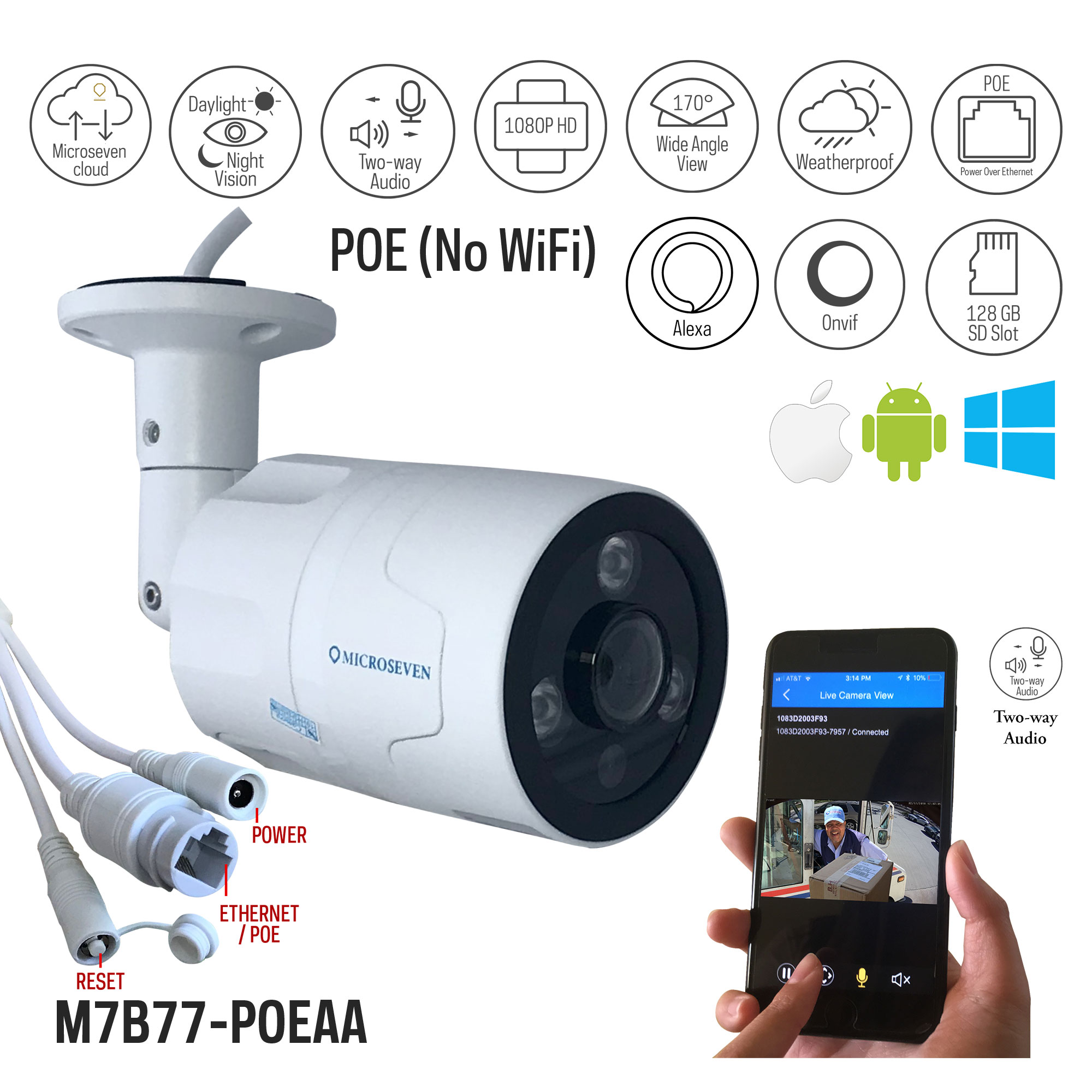 Microseven HD Works with Alexa, Free 24Hr Cloud , Two-Way Audio 1080P POE Wide Angle (170°) Outdoor IP Camera, SONY CMOS Built-in Microphone & Speaker +128GB SD Slot, Day & Night, ONVIF, Free Live Streaming microseven.tv (No WiFi)