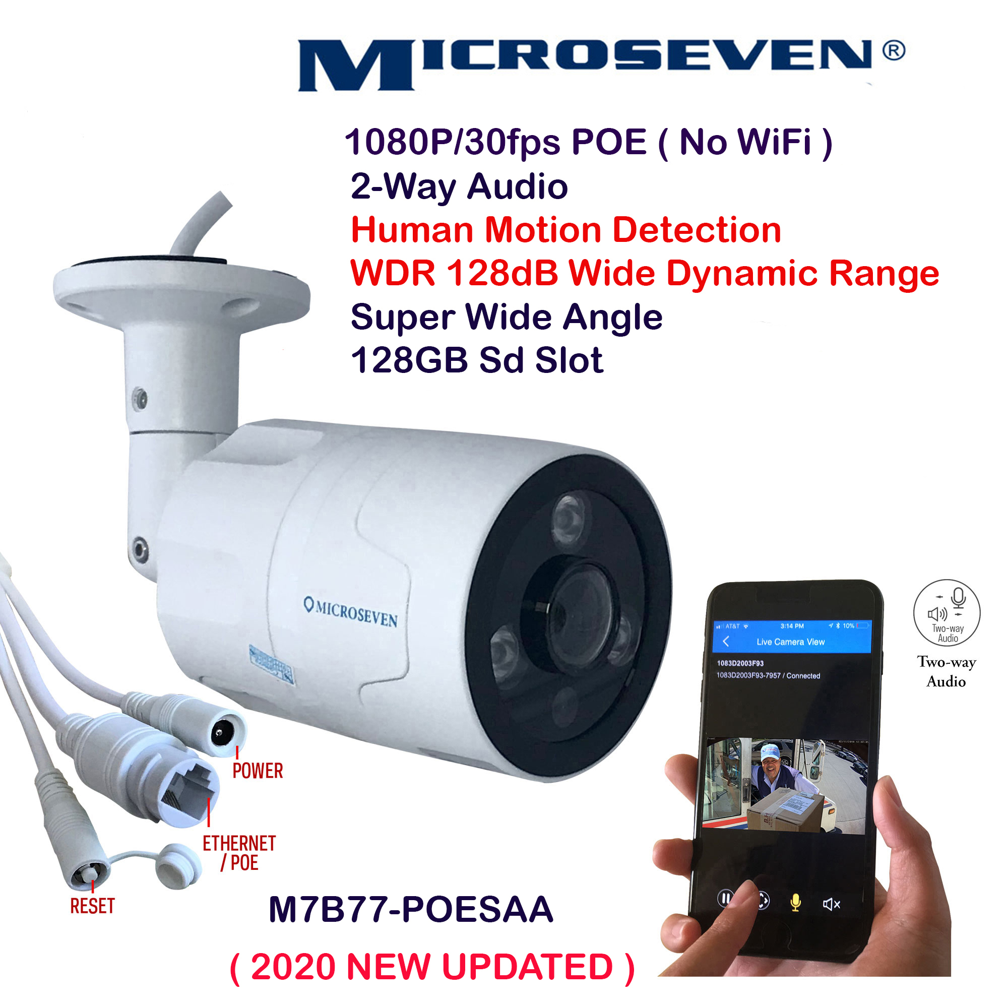 Microseven (2020 Updated ) Open Source 1080P / 30fps Sony Chipset CMOS 5MP lens ProHD POE Outdoor Camera, Amazon Certified Works with Alexa, Two-Way Audio Wide Angle (170°) POE Camera, WDR (120dB Wide Dynamic Range), Human Motion Detection POE IP Camera, 128GB SD Slot, Night Vision Bullet POE Camera, Waterproof Security Camera, ONVIF CCTV Surveillance POE Camera,Web GUI & Apps,VMS (Video Management System)