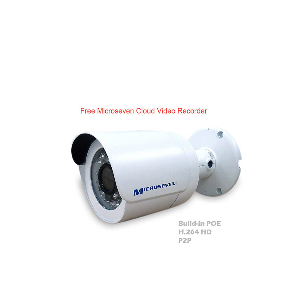 "M7B77-POE HD 1080P 1/2.5"" COMS Ultra-Wide View Angle (110°) 3MP Lens +Two Way Audio P2P IP Camera Build-in POE Day & Night Indoor Outdoor-Compatible with Any ONVIF NVR, Free M7 Cloud and Free Live Streaming on microseven.tv (With Built-in POE)/Works with Alexa"
