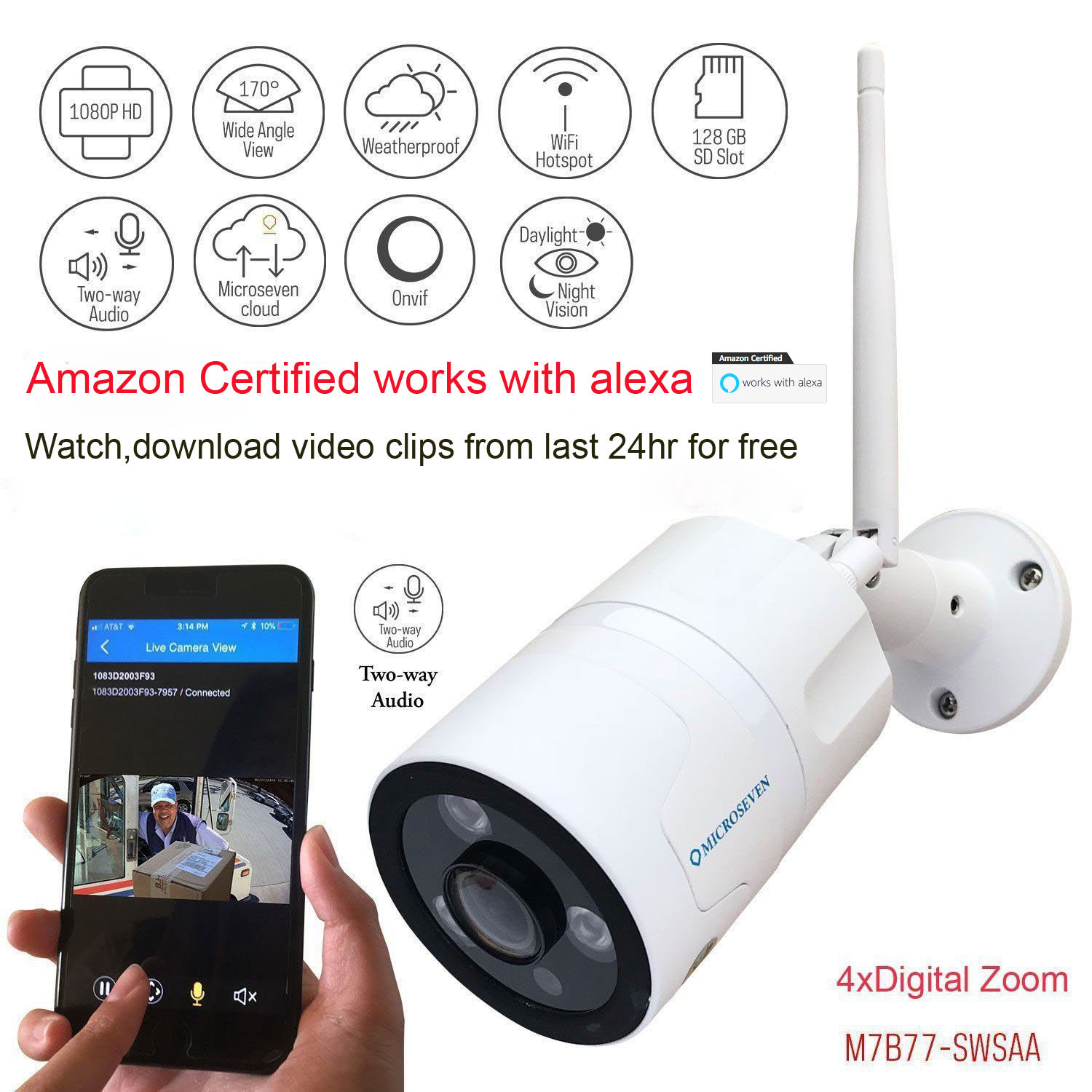 Microseven HD Works with Alexa,Amazon Certified, Free 24Hr Cloud , Two-Way Audio 1080P WiFi Wide Angle (170°) Outdoor IP Camera, SONY CMOS Built-in Microphone & Speaker +128GB SD Slot, Day & Night, ONVIF, Free Live Streaming microseven.tv