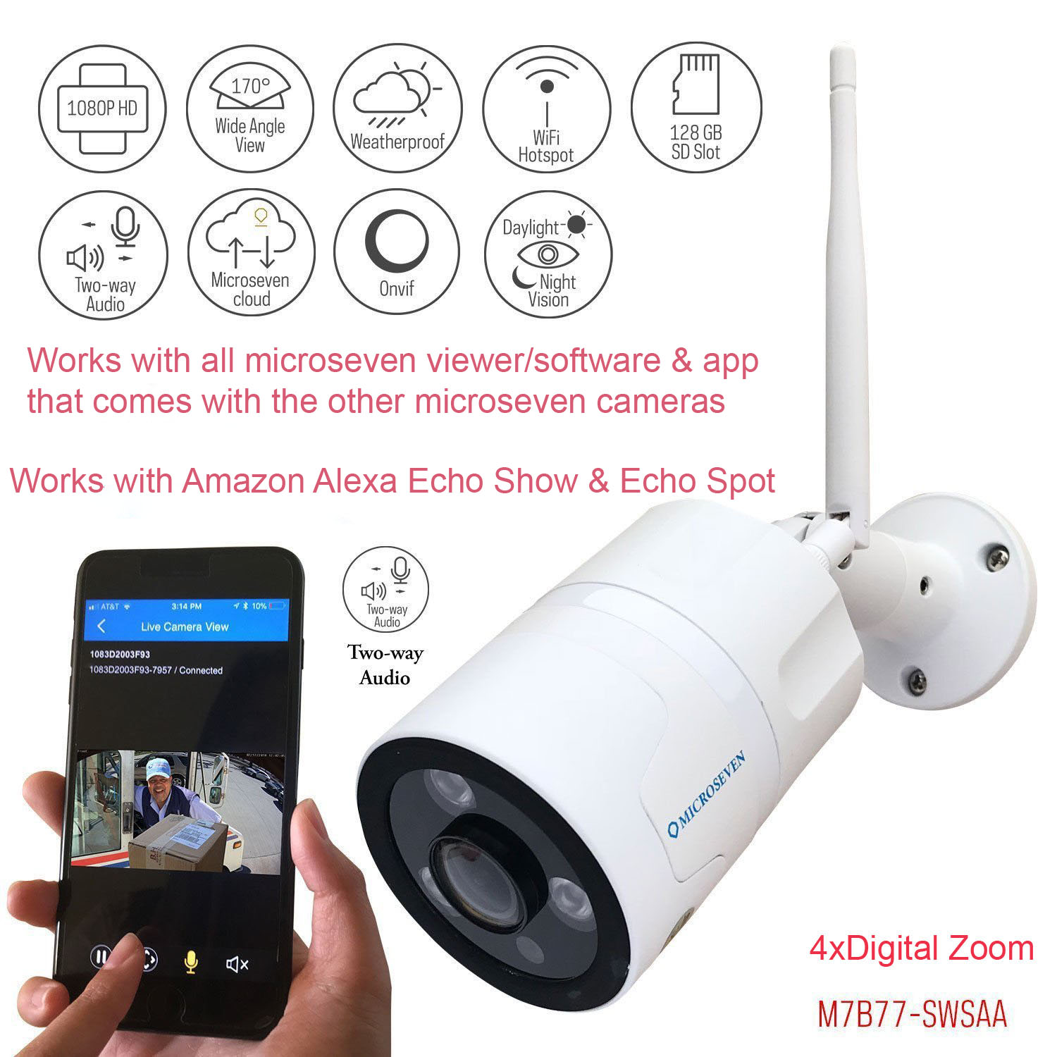 Microseven HD Works with Alexa, Free 24Hr Cloud , 2-Way Talk 1080P WiFi Wide Angle (170°) Outdoor IP Camera, SONY CMOS Built-in Microphone & Speaker +128GB SD Slot, Day & Night, ONVIF, Free Live Streaming microseven.tv