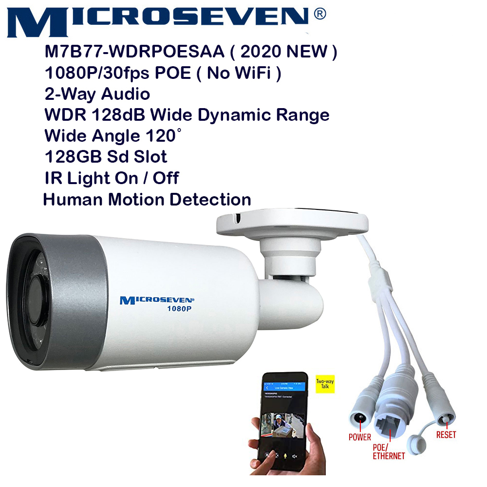 Microseven (2020) Open Source 1080P / 30fps True WDR (120dB Wide Dynamic Range), Sony Chipset CMOS ProHD POE Outdoor IP Camera, Amazon Certified Works with Alexa, Two-Way Audio with Built-in Amplified Microphone & Speaker, Wide Angle (120°), Human Motion Detection, 128GB SD Slot, Night Vision IR Light (On/Off ), Waterproof Security Camera, ONVIF CCTV Surveillance Camera, Web GUI & Apps,VMS (Video Management System)Works with Alexa No Monthly Fee+ Broadcasting on YouTube, Facebook & Microseven.tv