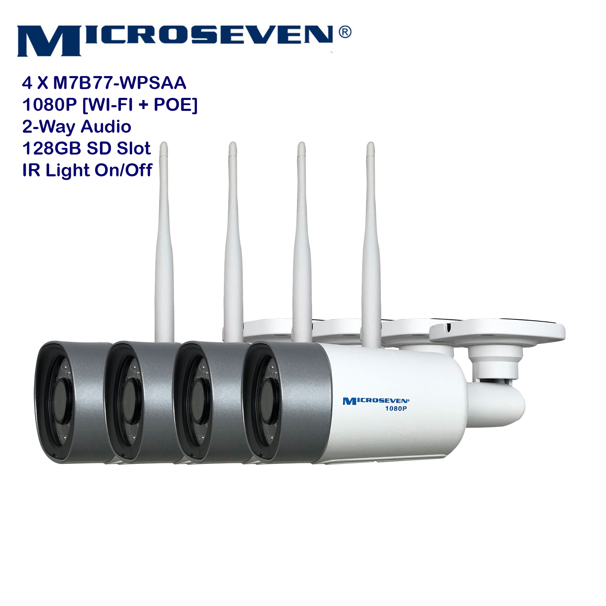 "4x Microseven (2019 Updated) M7B77-WPSAA Open Source All in One HD 1080P /30fps [WiFi+PoE] SONY 1/2.8"" Chipset CMOS 3.6mm 3MP Lens Two-Way Audio with Built-in Amplified Microphone and Speaker plug and Play ONVIF, IR Light (On/Off in the APP) Security Outdoor IP Camera 128GB SD Slot, Day & Night, Web GUI & Apps, VMS (Video Management System) Free 24hr M7 Cloud Storage, Works with Alexa"