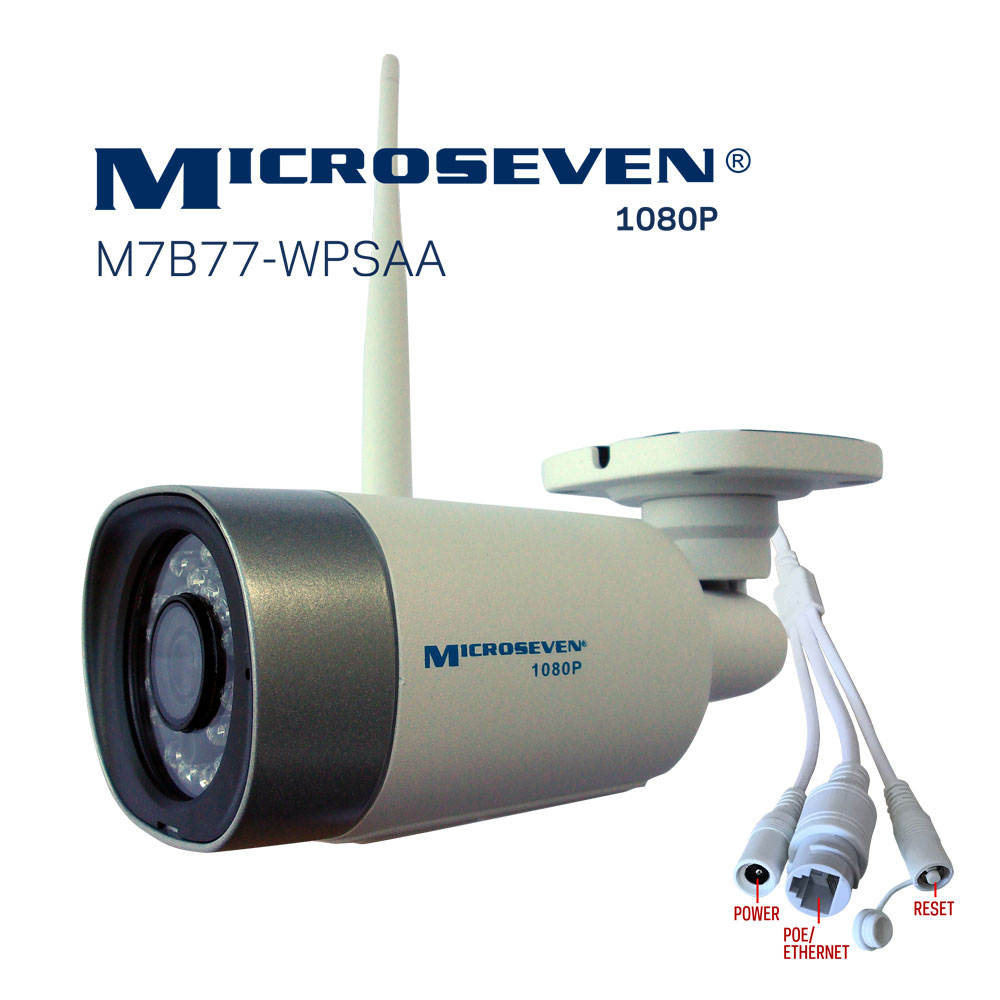 "Microseven (2019 Updated) Open Source All in One ProHD 1080P /30fps [WiFi+PoE] SONY 1/2.8"" Chipset CMOS 3.6mm 3MP Lens Two-Way Audio with Built-in Amplified Microphone and Speaker plug and Play ONVIF, IR Light  (On/Off in the APP) Security Indoor / Outdoor IP Camera 128GB SD Slot, Day & Night, Web GUI & Apps, VMS (Video Management System) Free 24hr M7 Cloud Storage, Works with Alexa with No Monthly Fee+ Broadcasting on YouTube, Facebook & Microseven.tv"