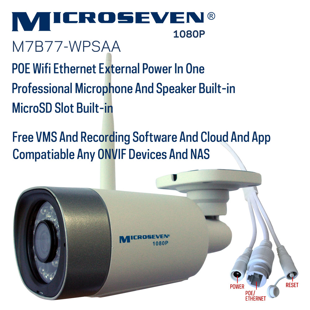 "Microseven (2019 Updated) Open Source All in One HD 1080P /30fps [WiFi+PoE] SONY 1/2.8"" Chipset CMOS 3.6mm 3MP Lens Two-Way Audio with Built-in Amplified Microphone and Speaker plug and Play ONVIF, IR Light  (On/Off in the APP) Security Outdoor IP Camera 128GB SD Slot, Day & Night, Web GUI & Apps, VMS (Video Management System) Free 24hr M7 Cloud Storage, Works with Alexa"