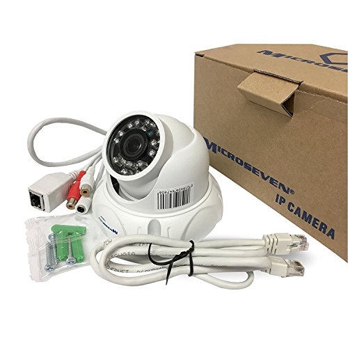 Microseven 5MP Ultra HD (2560x1920) POE Dome IP Camera Amazon Certified Works with Alexa,Web GUI & Apps, VMS (Video Management System), Free 24Hr Cloud, Audio with Build-in Microphone & SD Slot Support Upto  128GB Day & Night, ONVIF, Outdoor IP66, 100ft IR Distance, Free Live Streaming microseven.tv