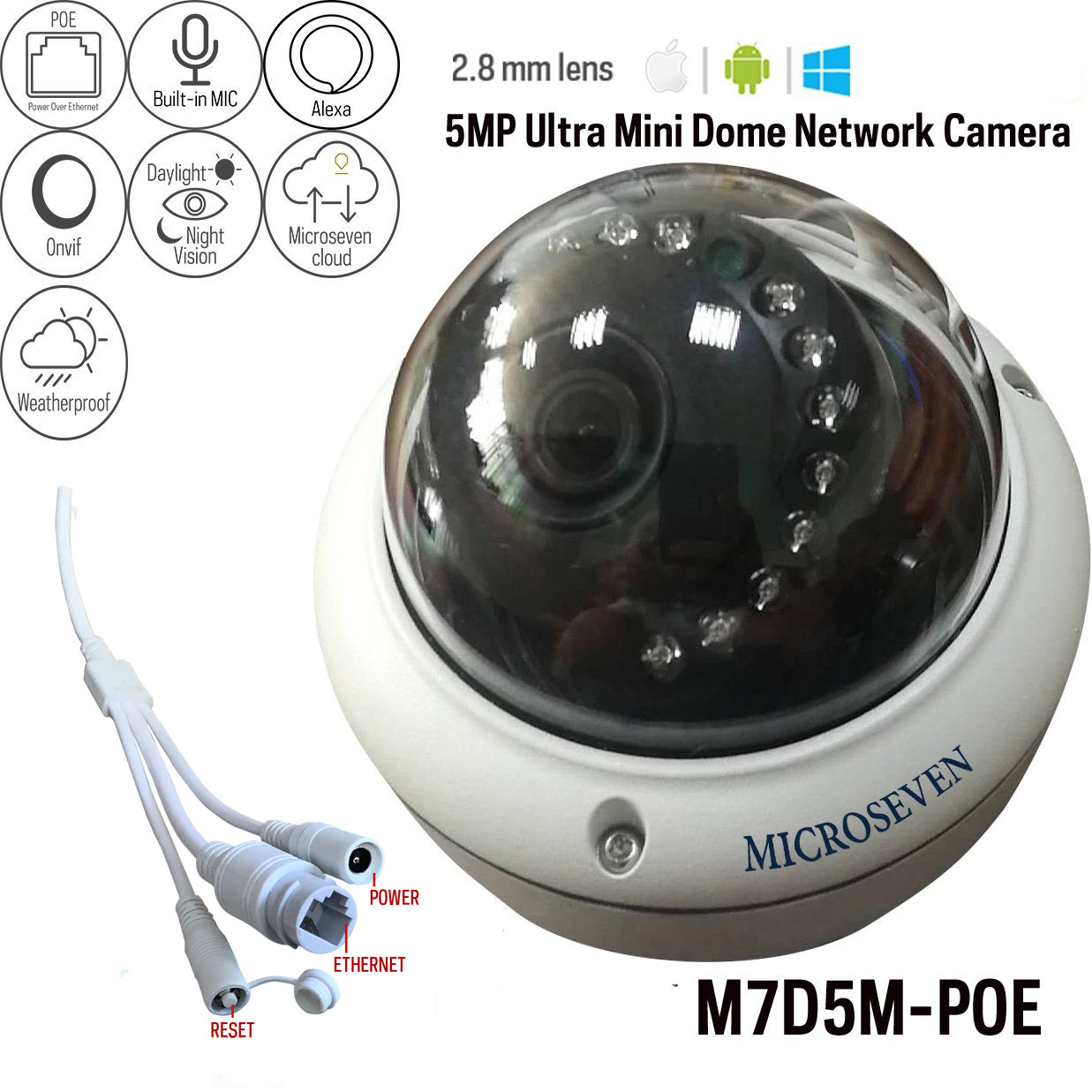Microseven 5MP POE IP Camera Works with Alexa, Free 24Hr Cloud, Ultra HD 2592x1944 Audio with Build-in Microphone Day & Night Outdoor Dome Vandal-Proof IP Camera IP66, 100ft IR Distance, Free Live Streaming microseven.tv (in stock 5/30 pre-order only)