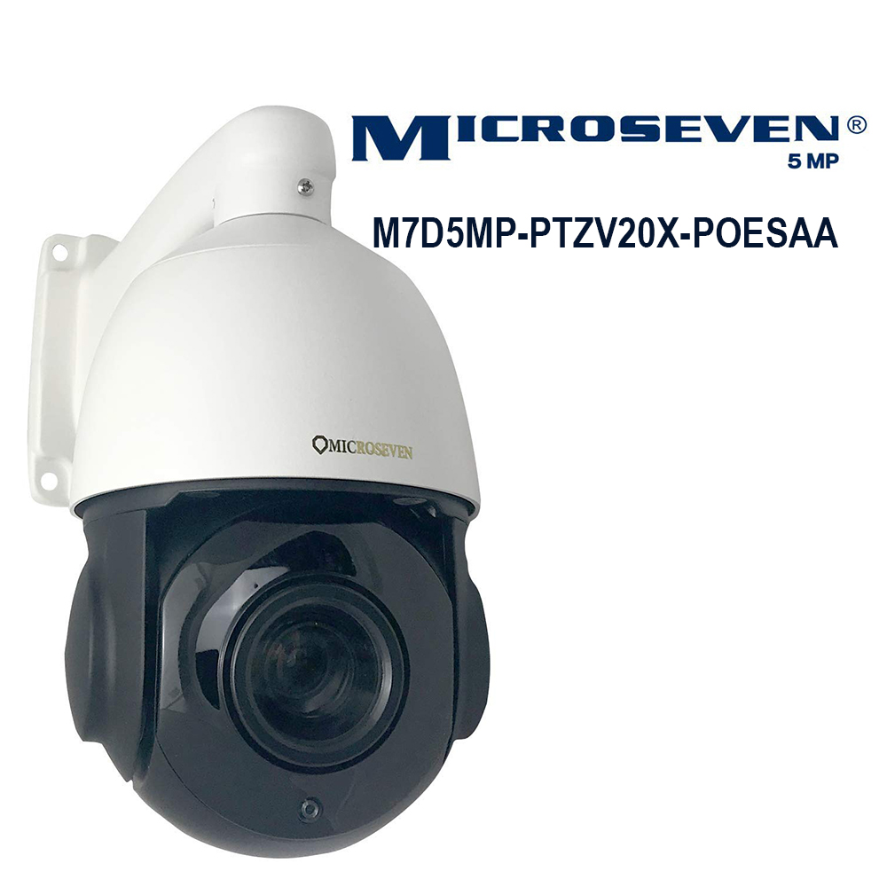 Microseven Open Source 5MP (2560x1920) UltraHD PoE 20X Optical Zoom Pan Tilt Speed Dome IP Camera, H.265 Human Motion Detection, Built-in POE+ Outdoor PTZ Camera, Works with Alexa, Night Vision,Sony Starvis CMOS,IP66 Weatherproof, Built-in 128GB SDcard Slot, Two-Way Audio with Build-in Microphone & External Speaker (Included), Auto Cruise,ONVIF, Web GUI & Apps, VMS (Video Management System), Free 24Hr Cloud Storage