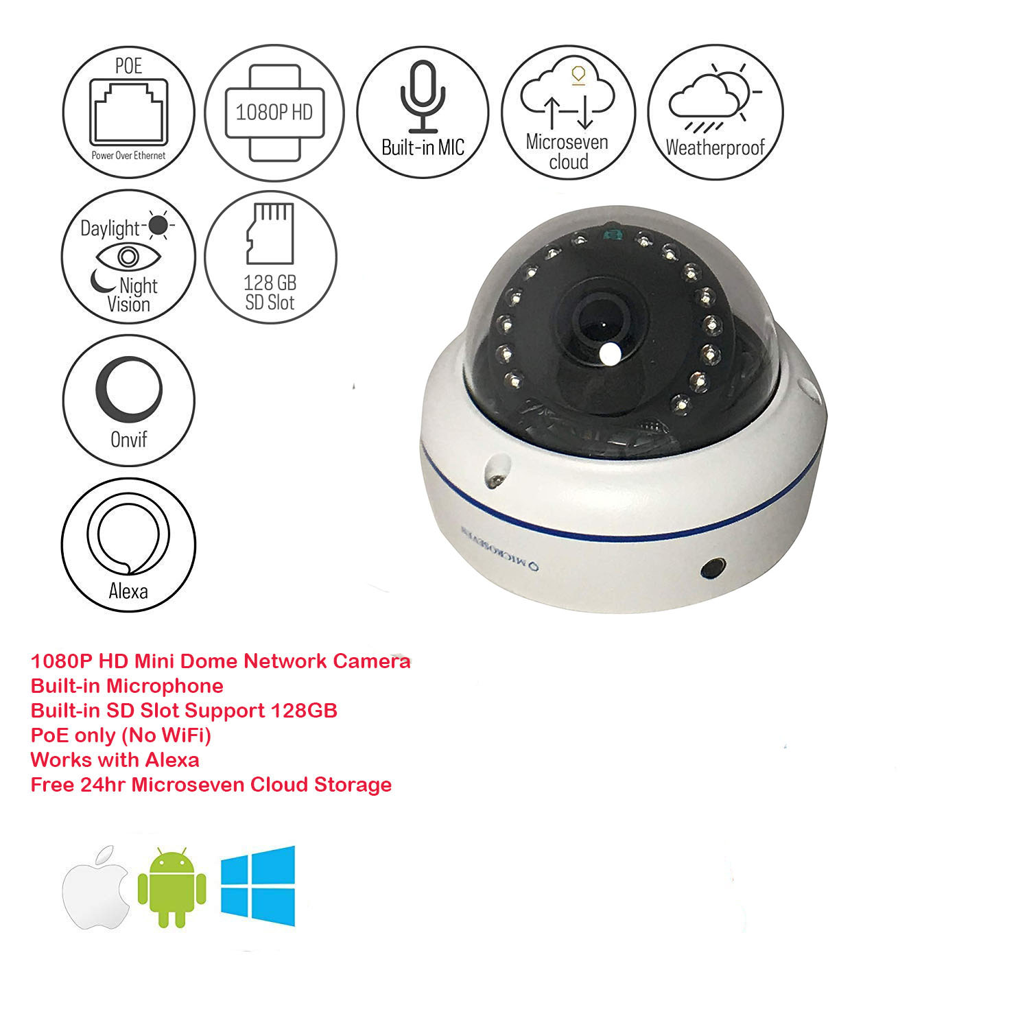 Microseven Open Source 1080P / 30fps Sony CMOS HD PoE Outdoor Camera, Works with Alexa, Night Vision Dome Camera, Wide Angle, IR Motion Detection IP Camera, CCTV Surveillance IP Camera, WaterProof Security Camera, 128GB SD Card Slot, Audio with Build-in Microphone, IP66, ONVIF, Web GUI & Apps, VMS (Video Management System), Free 24Hr Cloud Storage, Free Live Streaming on Microseven.tv