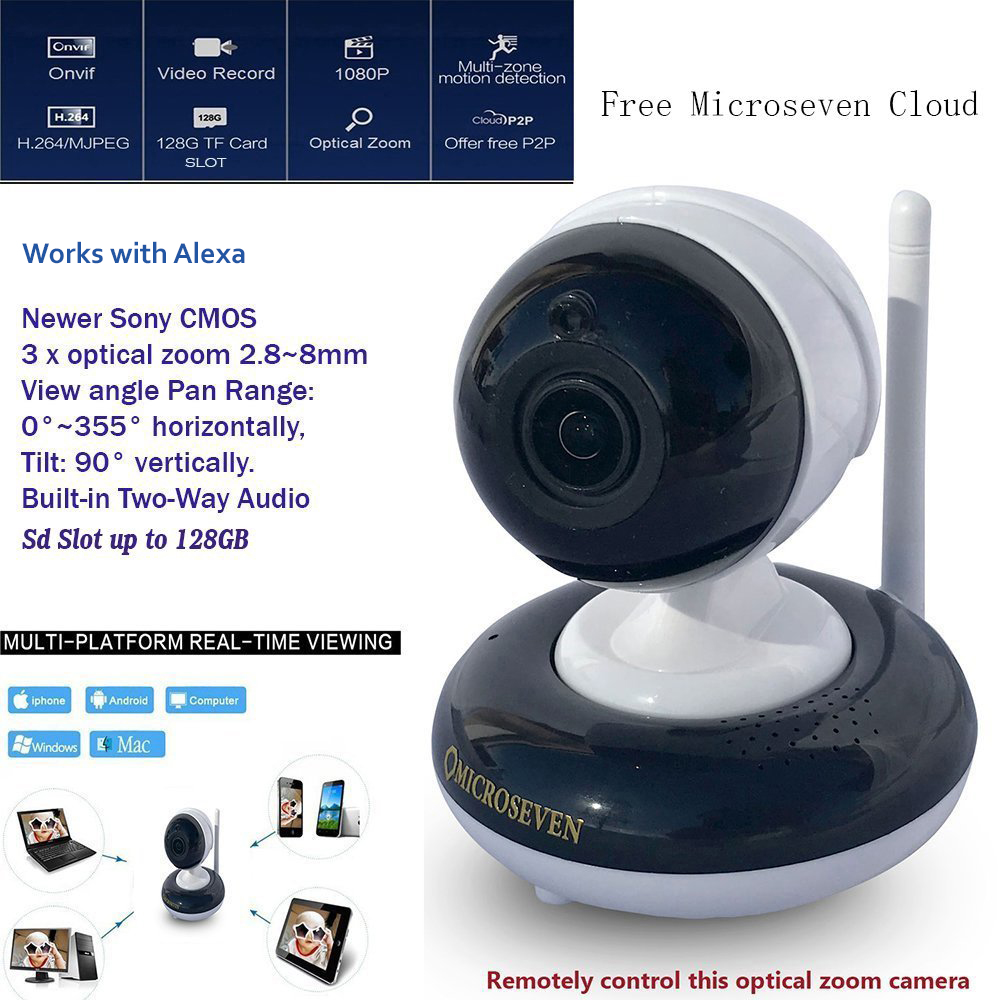 "Microseven 2.8~8mm HD PTZ (3X Optical Zoom) 1080P Indoor SONY 1/2.9"" CMOS Pan/ Tilt / 3x Motorized Zoom Internal Built-in Two-Way Talk ONVIF Wireless IP Camera Day & Night TF SD Slot upto 128GB + iOS / Android App Free M7 Cloud + Live Streaming on microseven.tv / Works with Alexa"