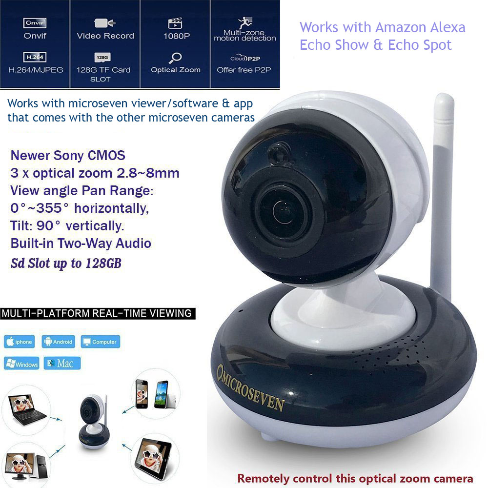 "Microseven HD Works with Alexa, Free 24Hr Cloud , Two-Way Audio 2.8~8mm HD PTZ (3X Optical Zoom) 1080P Indoor SONY 1/2.9"" CMOS Pan/ Tilt / 3x Motorized Zoom ONVIF Wireless IP Camera Day & Night, 128GB SD Slot+Live Streaming on microseven.tv"