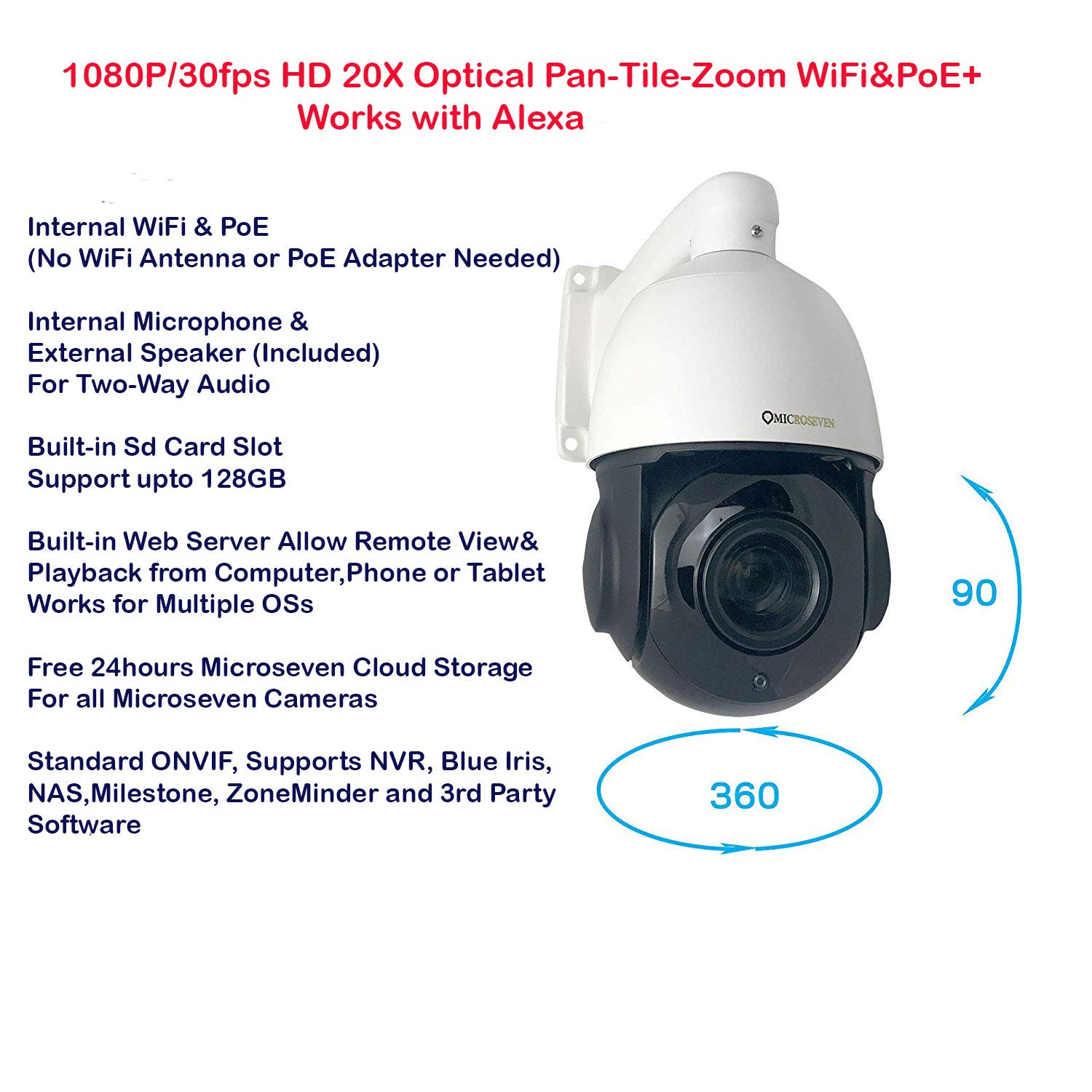 Microseven Open Source 1080P / 30fps HD 20X Optical Zoom Pan Tilt Speed Dome IP Camera Built-in WiFi &POE+ Outdoor PTZ Camera, Works with Alexa, Night Vision,Sony Starvis CMOS,IP66 Weatherproof, Built-in 128GB SDcard Slot, Two-Way Audio with Build-in Microphone & External Speaker (Included), Auto Cruise,ONVIF, Web GUI & Apps, VMS (Video Management System), Free 24Hr Cloud Storage