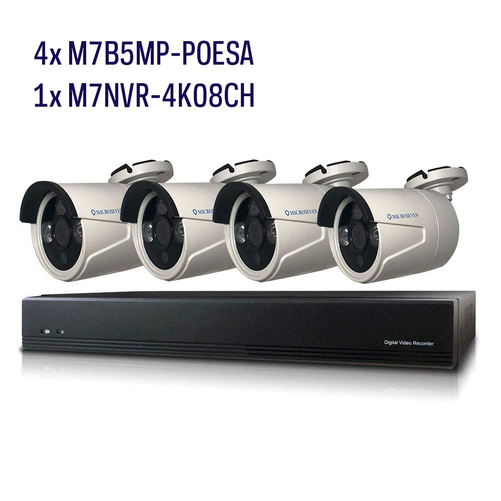 Microseven 8CH 8MP PoE Home Security Camera System,4 pcs Bullet Wired 5MP Outdoor PoE IP Camera, 8 Channel 8-Megapixel NVR Security System Support upto 8TB HDD for 24x7 Recording Compatible with Alexa
