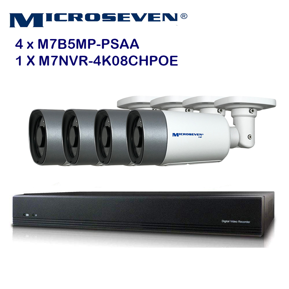 MICROSEVEN 8MP 8CH PoE Home Security Camera System with Audio & Works with  Alexa for 24x7 Recording,(4) Outdoor 5MP Bullet PoE IP Cameras, 100ft IR Night, 8 Channel 8MP PoE NVR, Support Upto 8TB HDD