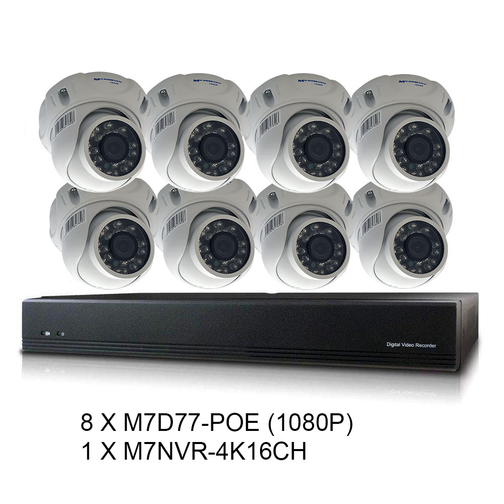 Microseven 16CH 8MP Home Security Camera System,8pcs Dome 2MP Outdoor PoE IP Camera, 16 Channel 8-Megapixel NVR Security System Support Upto 8TB HDD 2XSATA (Not Included) for 24x7 Recording Compatible with Alexa