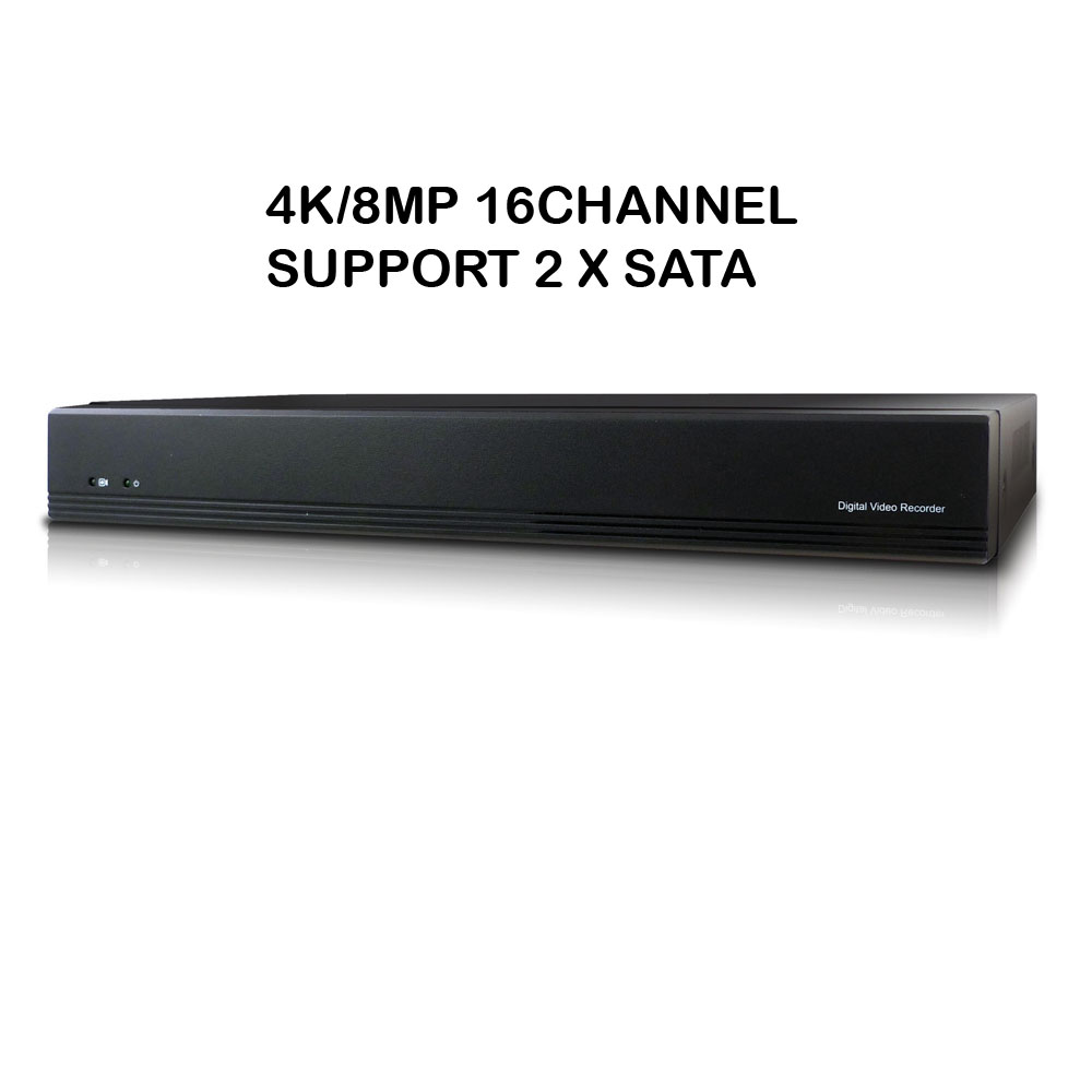 Microseven 4K NVR 8MP 16CH Compatible with Alexa, H.265 Security Network Video Recorder (1080p/3MP/4MP/5MP/6MP/8MP) Supports up to 16 x 8-Megapixel IP Cameras, Max. 8TB HDD 2 x SATA (Not Included)