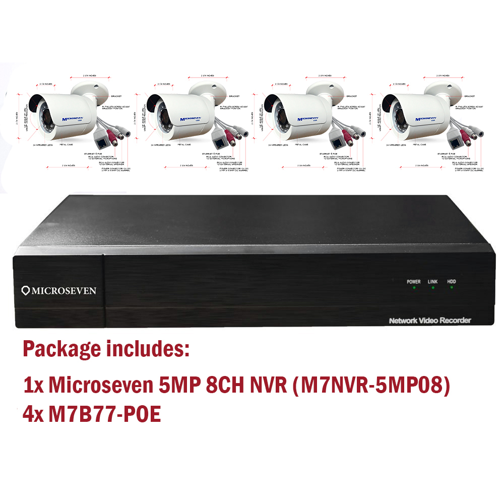 Microseven H.265 NVR 5 Megapixel POE 8CH ( HDD not included ) + 4 x Built-in POE IP Cameras ( 1XM7NVR-5MP08,4XM7B77-POE)