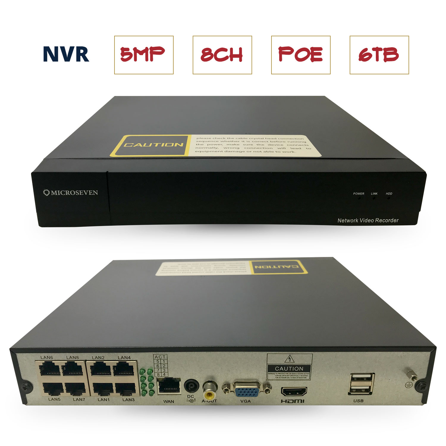 Microseven 5MP 8-Channel PoE NVR H.265 Security Network Video Recorder-Supports Recording 8CH 5MP/4MP/3MP/2MP IP Cameras,Power Over Ethernet, Supports up to 6TB HDD (Not Included), Provides support for third party brand ONVIF compliant IP Cameras / M7NVR-5MP08A