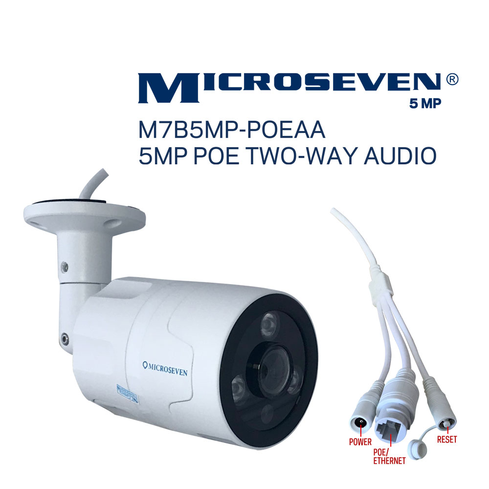 Microseven Open Source 5MP (2560x1920) Ultra HD PoE Outdoor Camera, Amazon Certified Works with Alexa, Two-Way Audio Wide Angle (170°), IR Motion Detection WiFi IP Camera, 128GB SD Slot, Night Vision Bullet WiFi Camera, Waterproof Security Camera, ONVIF CCTV Surveillance Camera, Web GUI & Apps, VMS (Video Management System) Free 24hr Cloud Storage