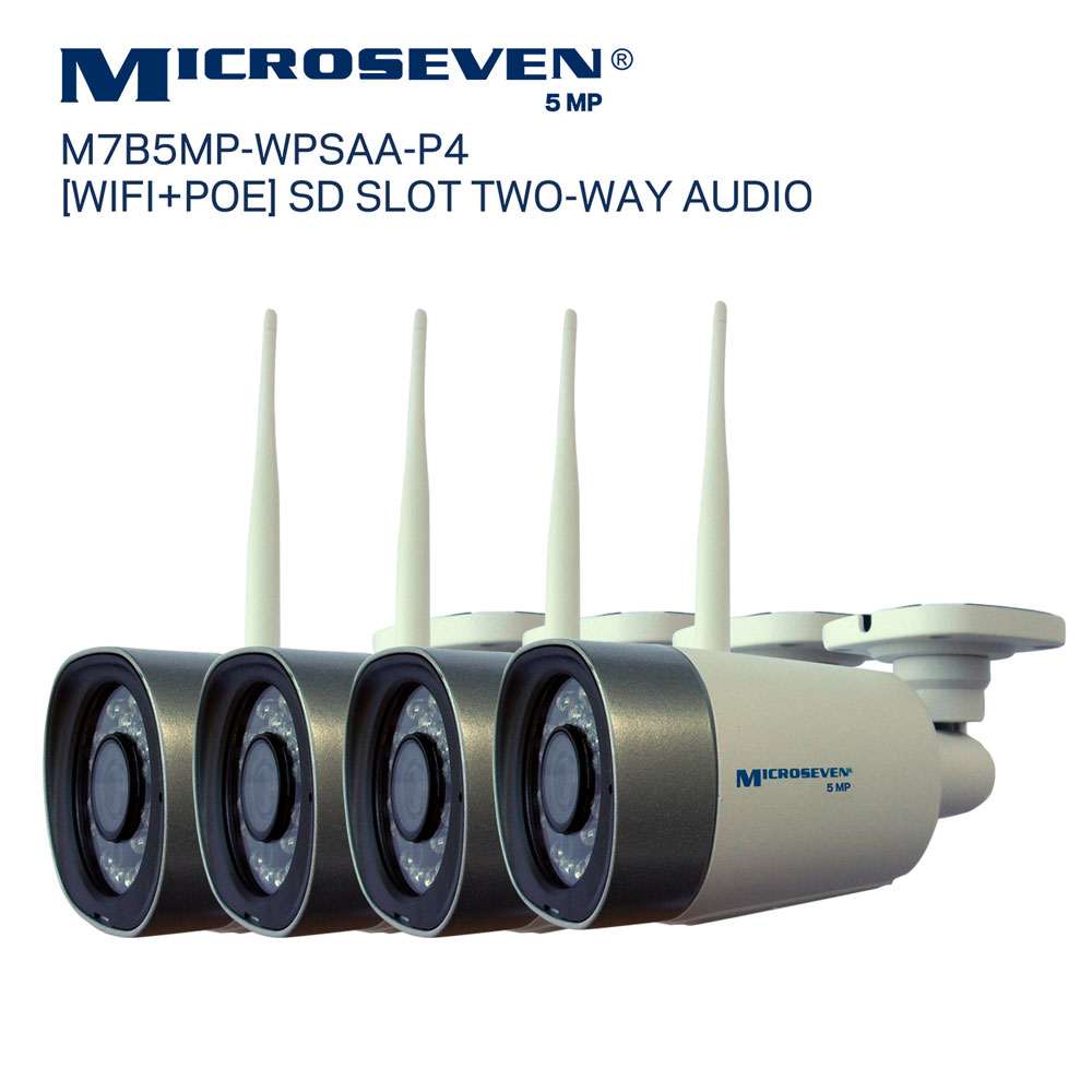 "Microseven M7B5MP-WPSAA-P4 Microseven Open Source 5MP (2560x1920) Ultra HD [WiFi + PoE] SONY 1/2.8"" Chipset CMOS 3.6mm 5MP Lens Two-Way Audio with Built-in Amplified Microphone and Speaker plug and Play ONVIF, IR Light (On/Off in the APP) Security Outdoor IP Camera 128GB SD Slot, Day & Night, Web GUI & Apps, VMS (Video Management System) Free 24hr M7 Cloud Storage, Works with Alexa"