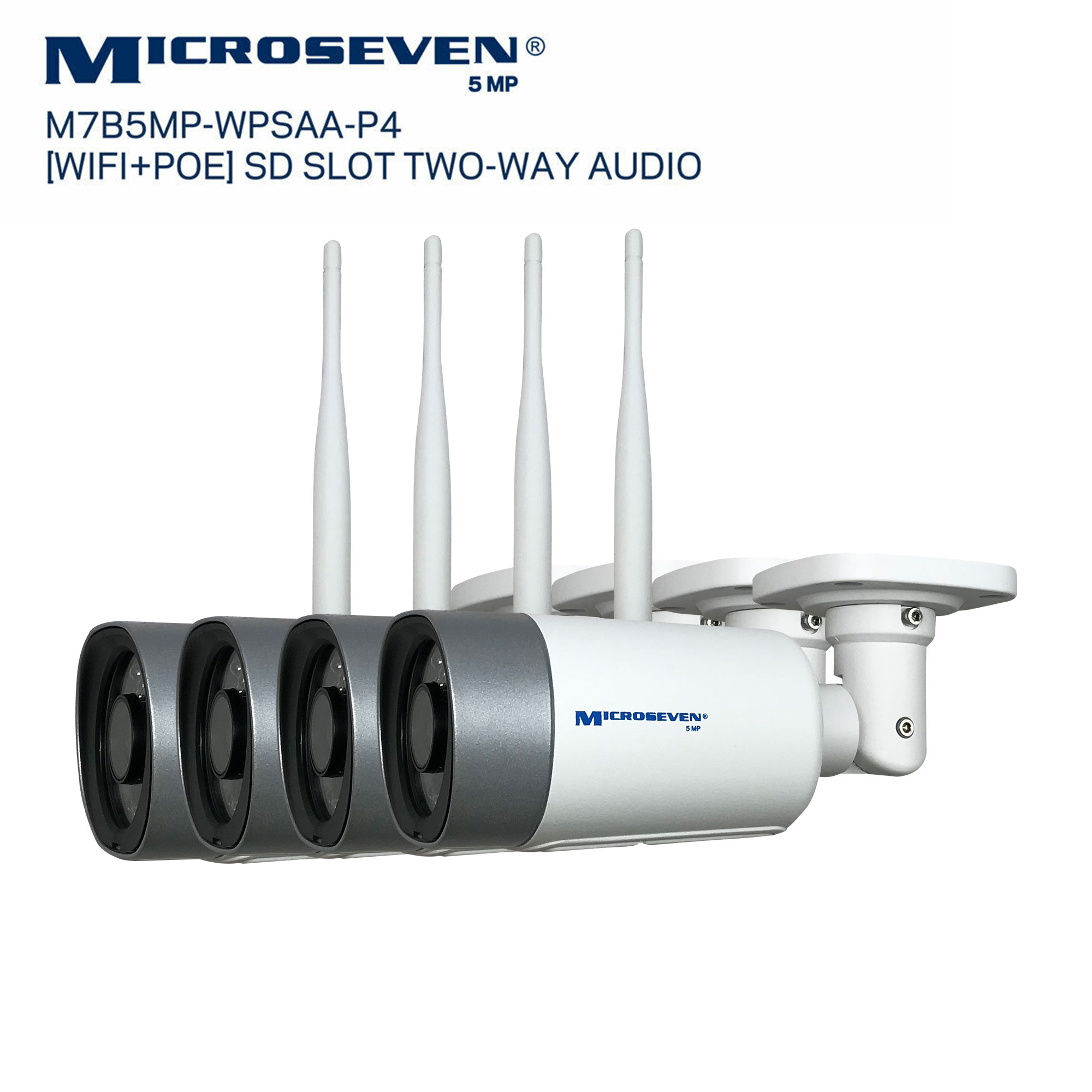 "Microseven M7B5MP-WPSAA-P4 Microseven Open Source 5MP (2560x1920) Ultra HD [WiFi + PoE] All in One SONY 1/2.8"" Chipset CMOS 3.6mm 5MP Lens Two-Way Audio with Built-in Amplified Microphone and Speaker plug and Play ONVIF, IR Light (On/Off in the APP) Security Outdoor IP Camera, Motion Detection, 128GB SD Slot, Day & Night, Web GUI & Apps, VMS (Video Management System) Free 24hr M7 Cloud Storage, Works with Alexa"