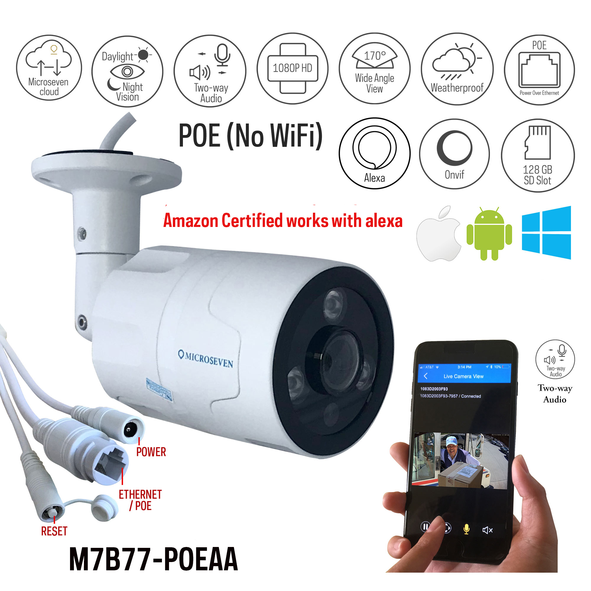 Microseven Open Source 1080P / 30fps Sony Chipset CMOS 5MP lens ProHD POE Outdoor Camera, Amazon Certified Works with Alexa, Two-Way Audio Wide Angle (170°) POE Camera, IR Motion Detection POE IP Camera, 128GB SD Slot, Night Vision Bullet POE Camera, Waterproof Security Camera, ONVIF CCTV Surveillance POE Camera,Web GUI & Apps,VMS (Video Management System), Free 24hr Cloud Storage